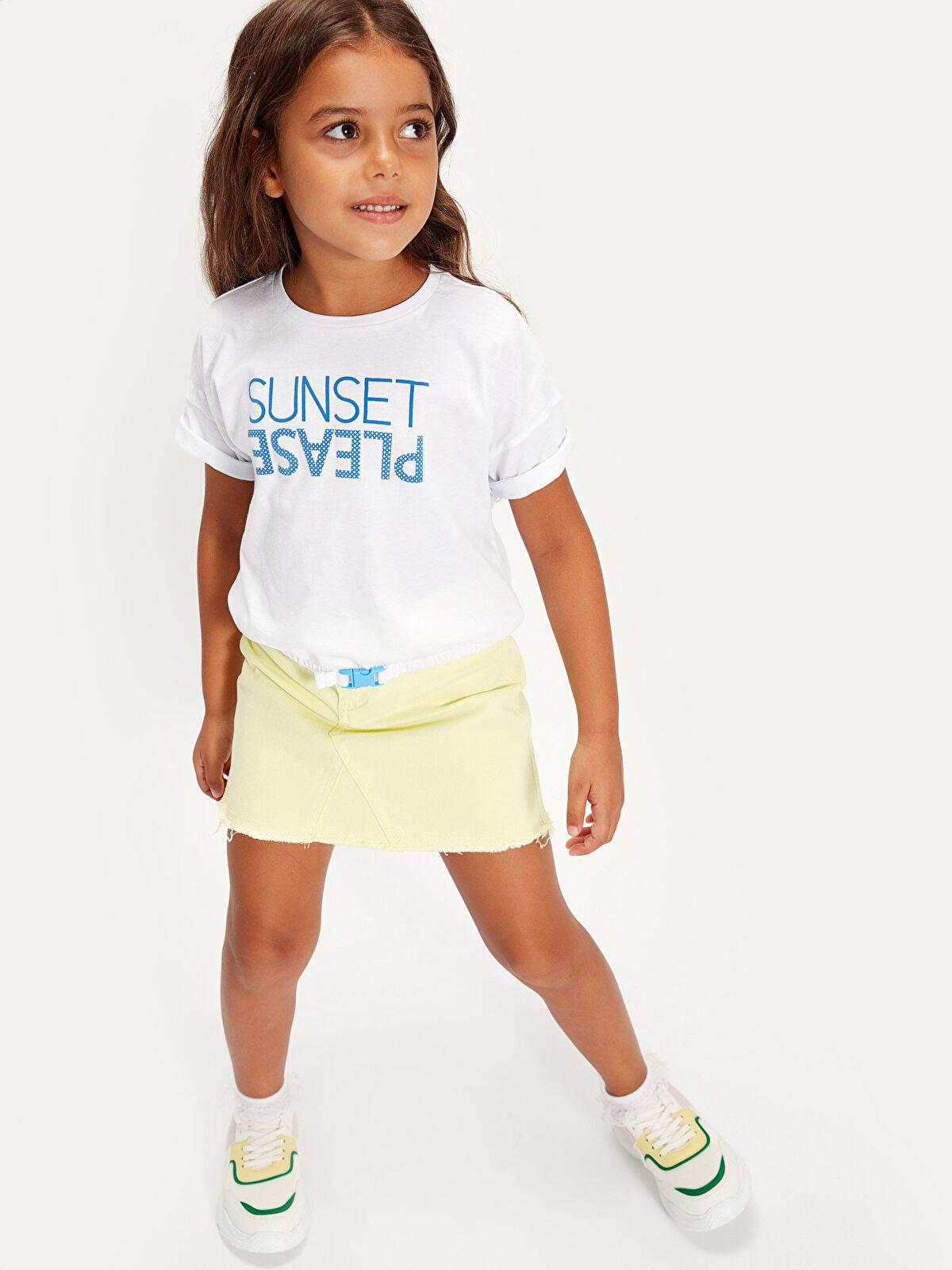 Kız Çocuk Yazı Baskılı Pamuklu Tişört - LC WAIKIKI