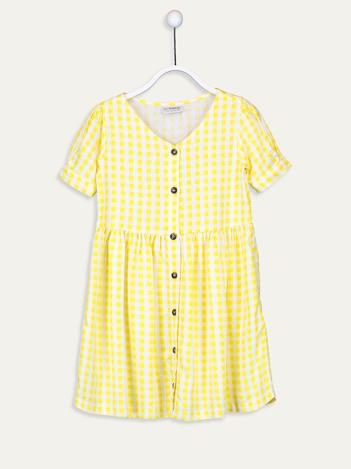 Kız Çocuk Ekoseli Viskon Elbise - LC WAIKIKI