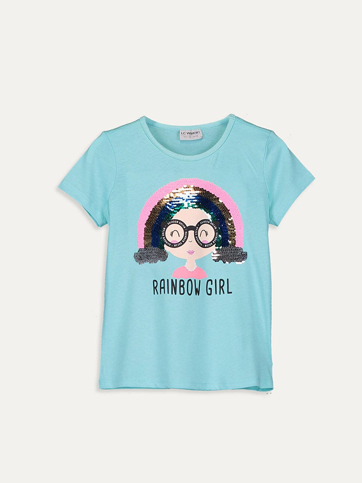 Kız Çocuk Çift Yönlü Payetli Pamuklu Tişört - LC WAIKIKI