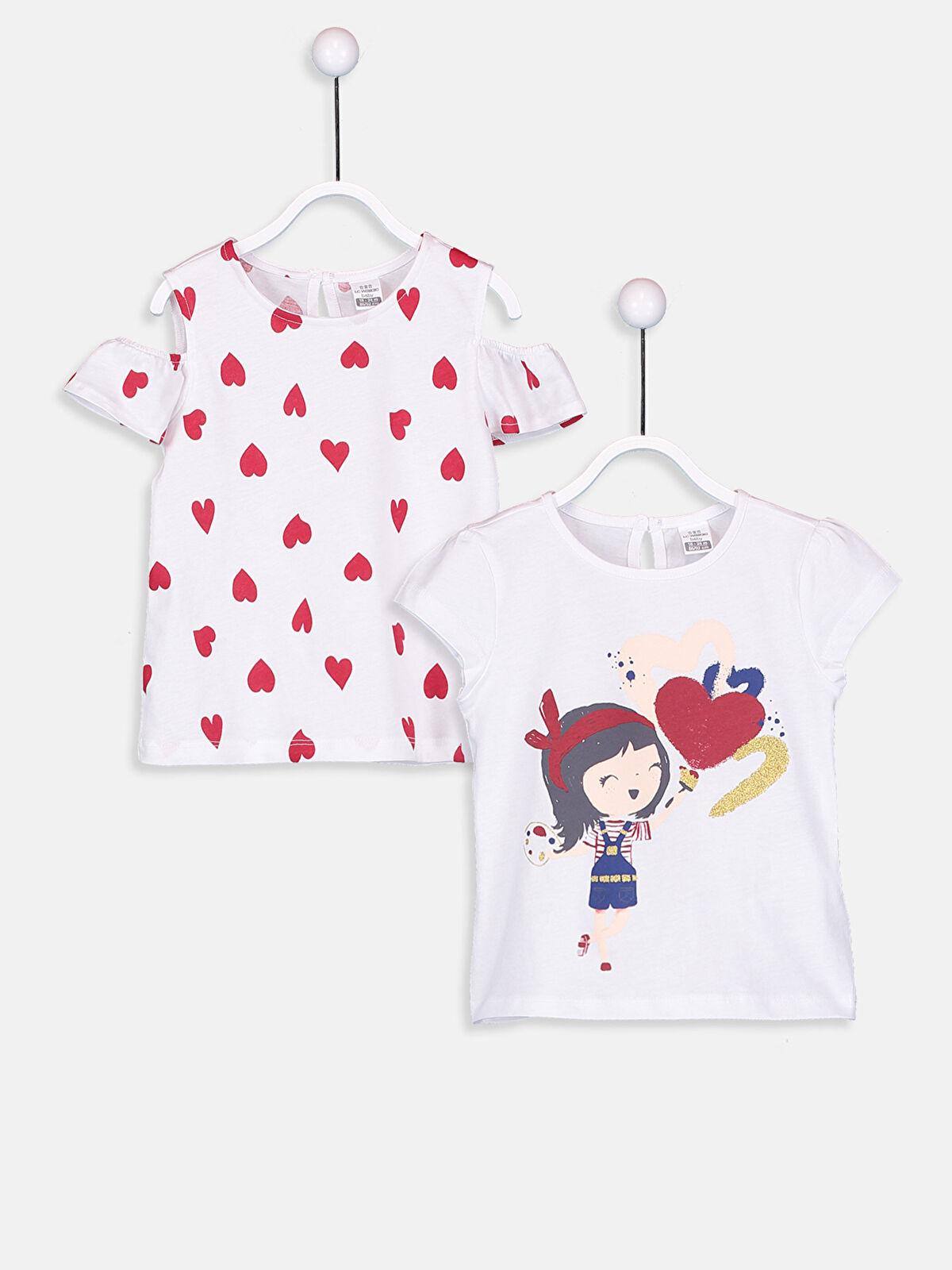 Kız Bebek Pamuklu Desenli Tişört 2'li - LC WAIKIKI