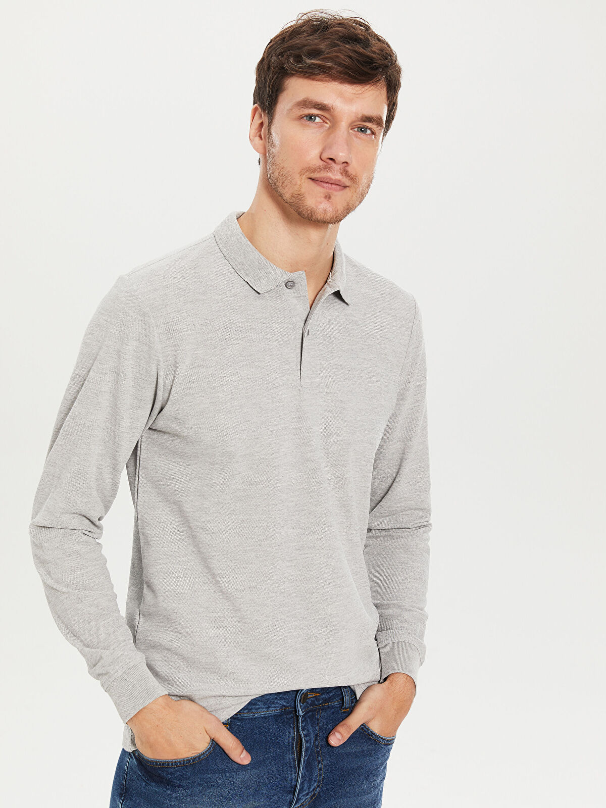 Polo Yaka Uzun Kollu Basic Tişört - LC WAIKIKI