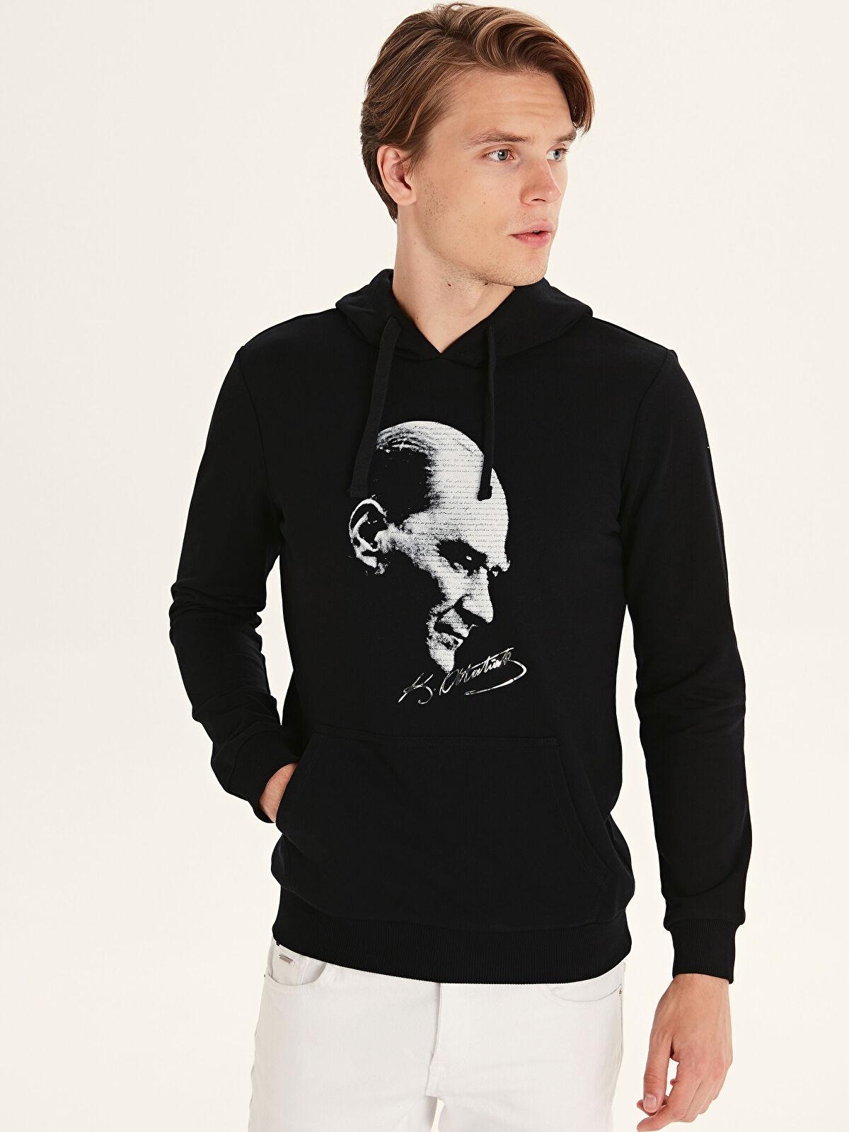Atatürk Baskılı Kapüşonlu Sweatshirt - LC WAIKIKI