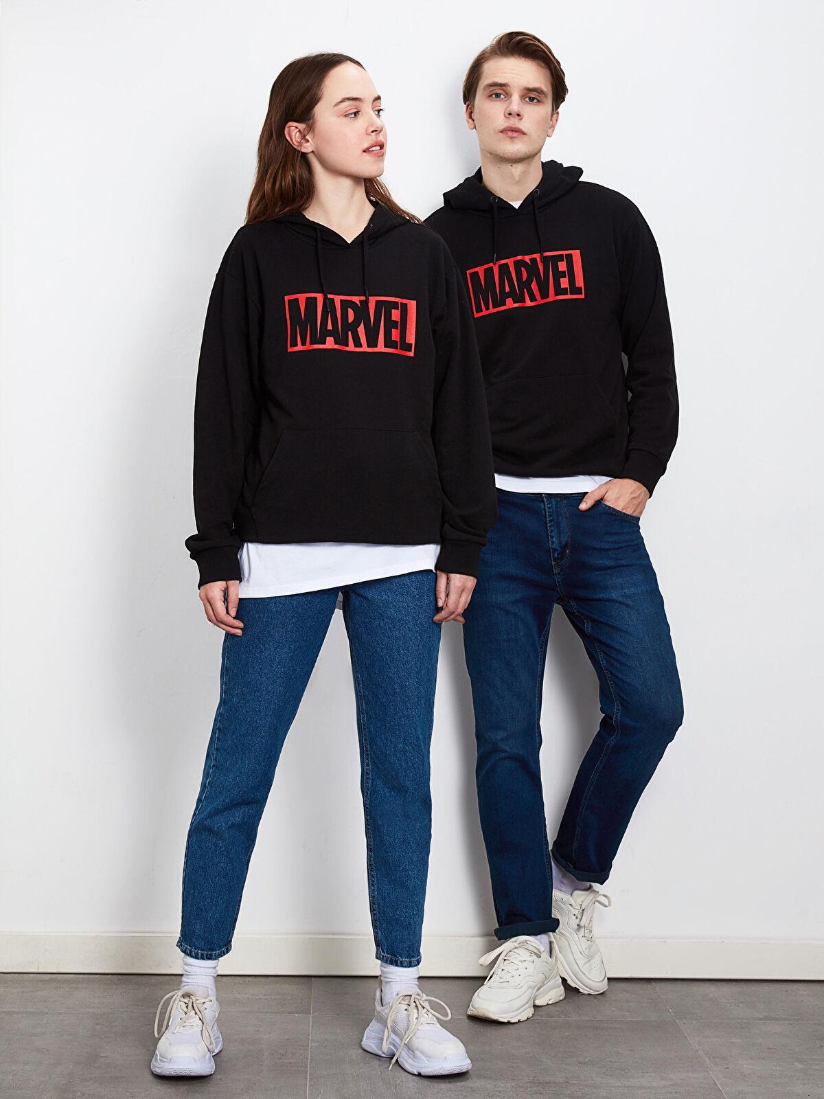 Marvel Baskılı Kapüşonlu Kalın Sweatshirt - LC WAIKIKI