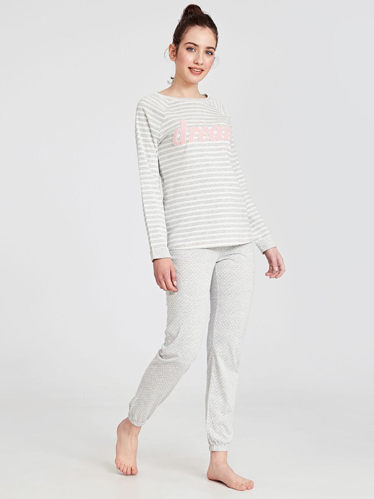 Nakışlı Çizgili Pijama Takımı - LC WAIKIKI