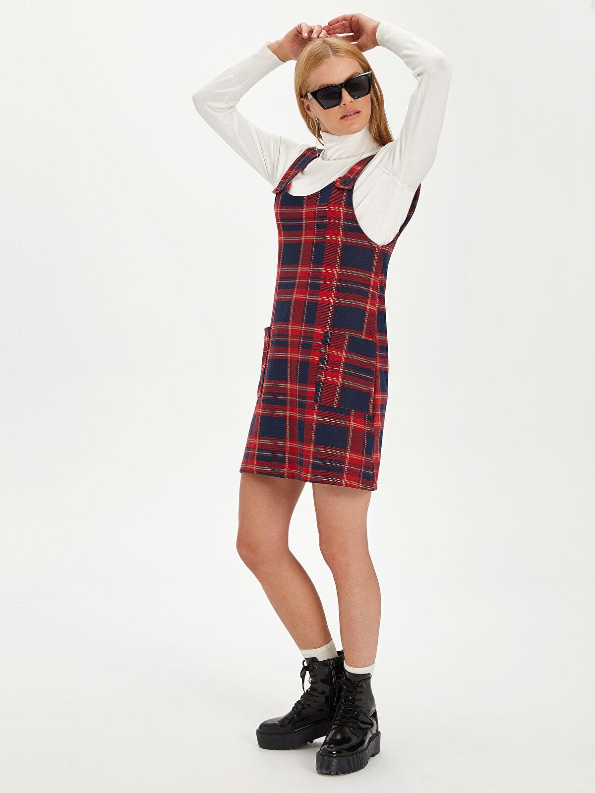 Ekose Mini Salopet Elbise - LC WAIKIKI