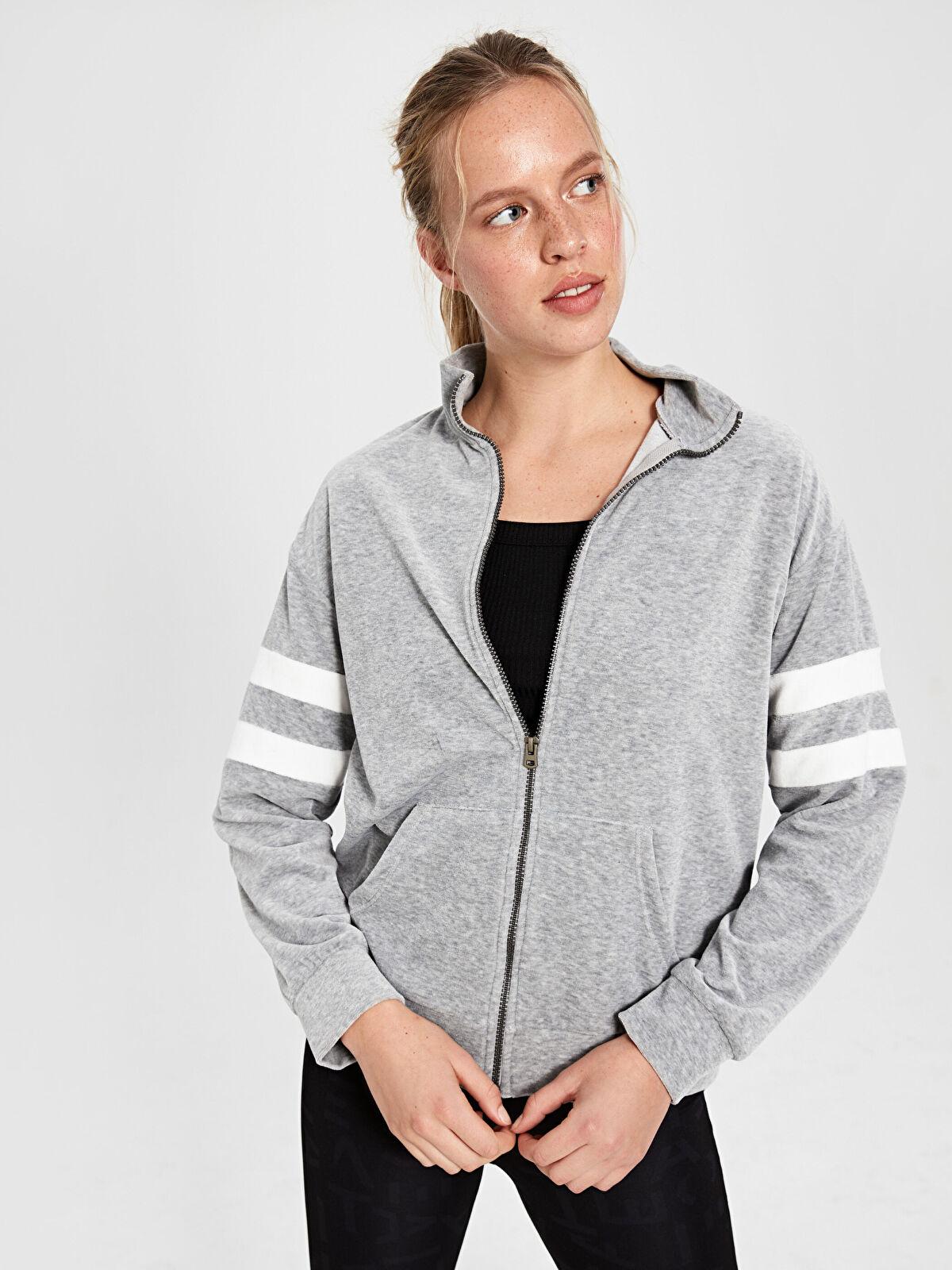 Şerit Detaylı Kadife Spor Sweatshirt - LC WAIKIKI