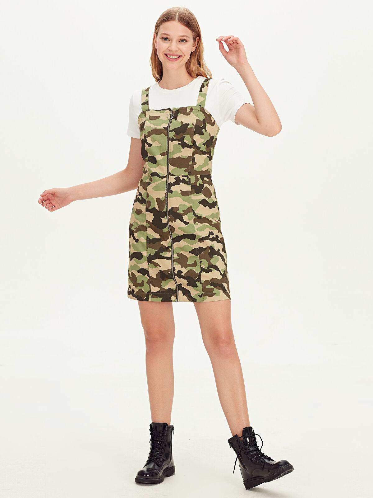 Kamuflaj Desenli Askılı Mini Elbise - LC WAIKIKI