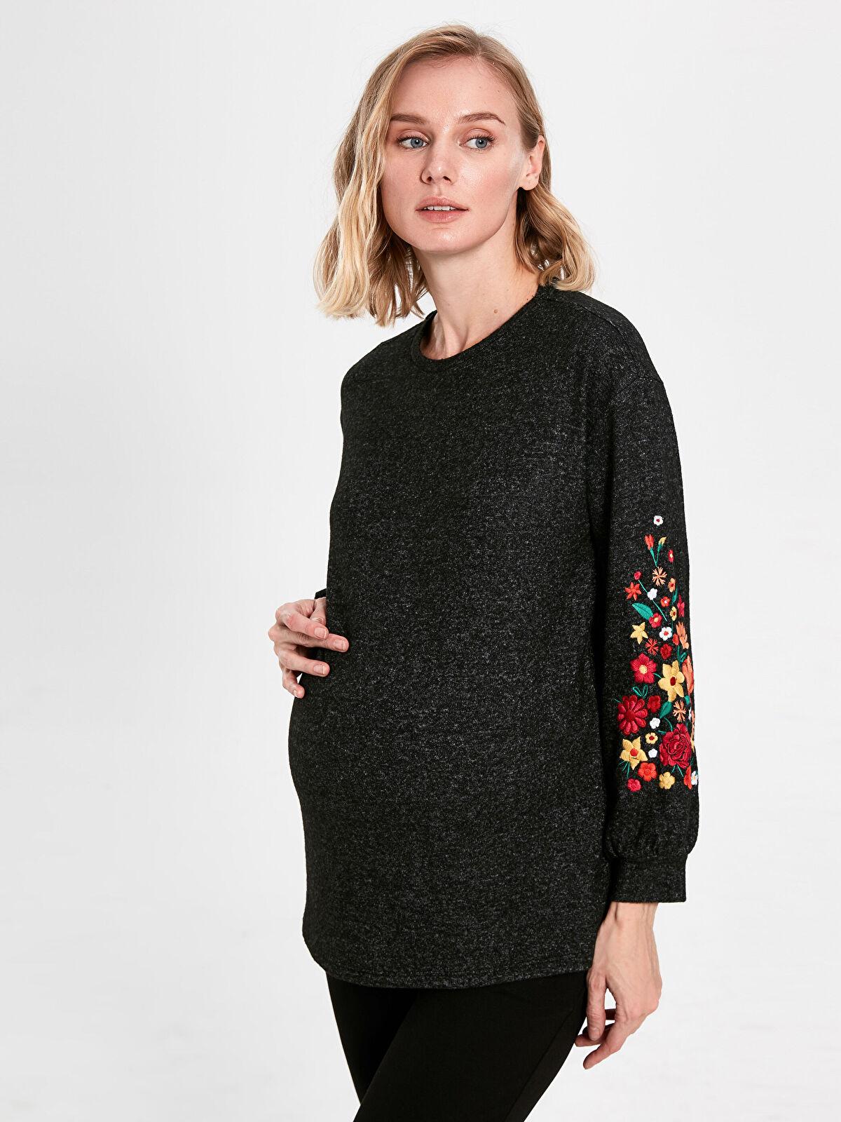 Çiçek İşlemeli Hamile Tişört - LC WAIKIKI