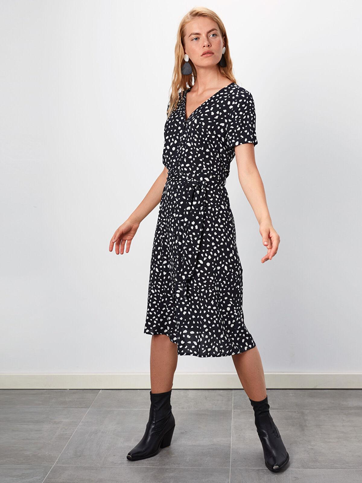 Desenli Kuşaklı Gömlek Elbise - LC WAIKIKI