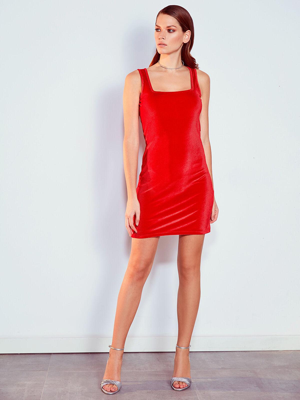 Kare Yaka Esnek Mini Elbise - LC WAIKIKI