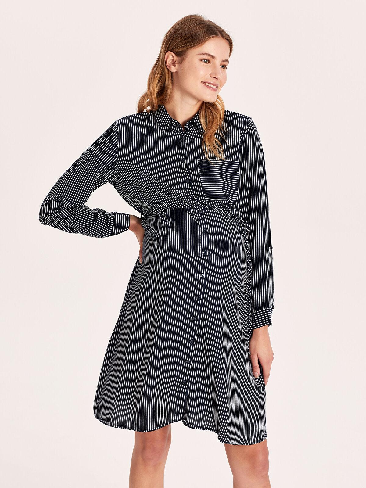Gömlek Yaka Maroken Hamile Elbise - LC WAIKIKI