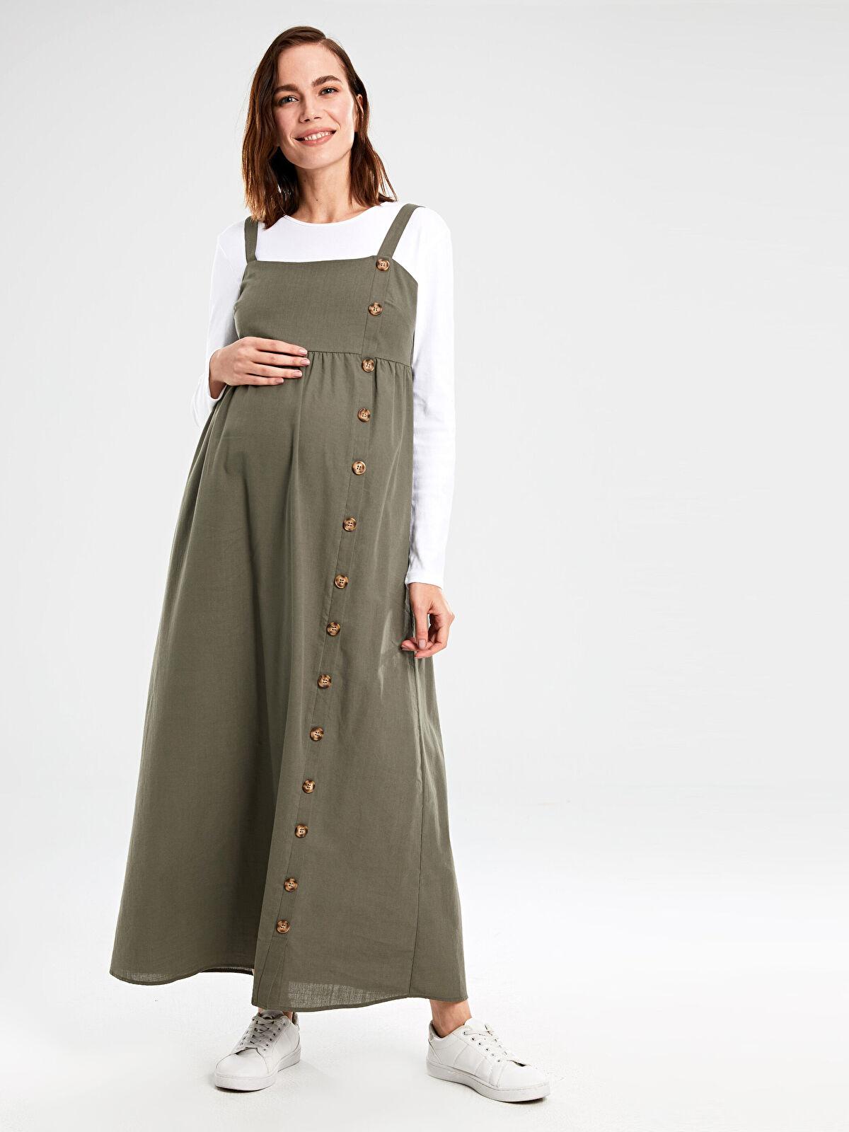 Hamile Düğmeli Pamuklu Salopet Elbise - LC WAIKIKI