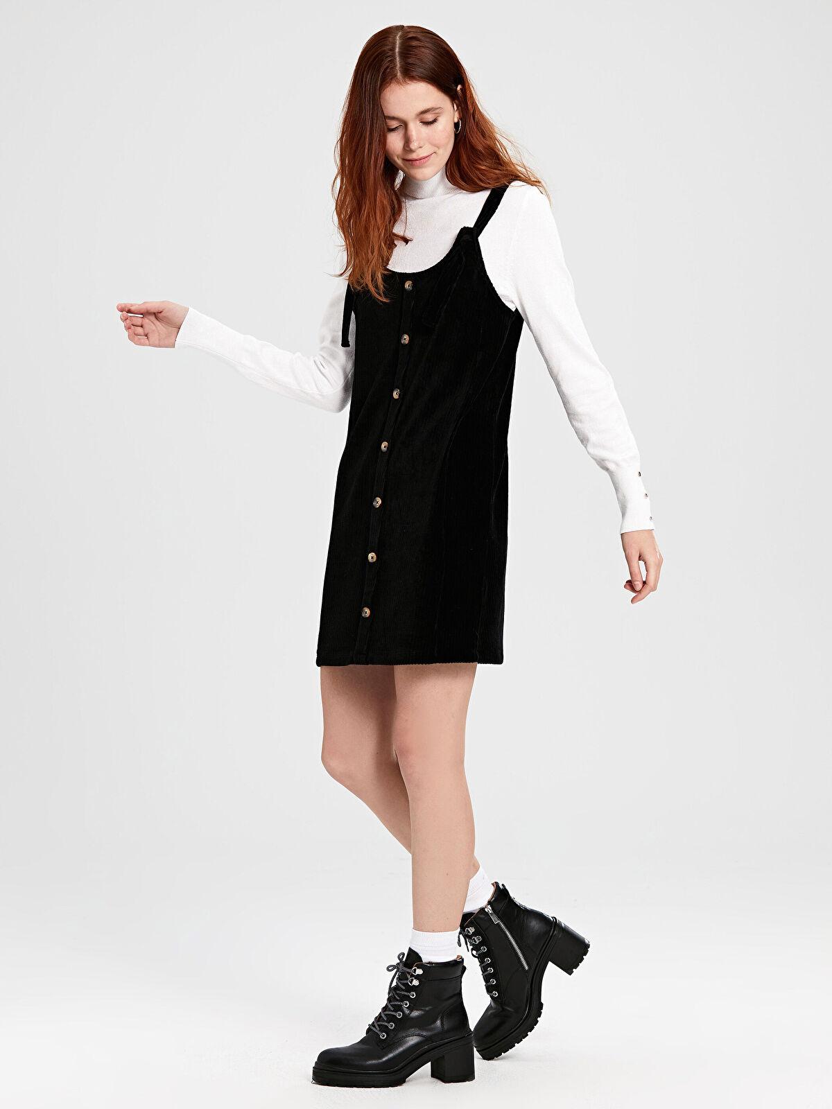 Düğmeli Salopet Mini Elbise - LC WAIKIKI
