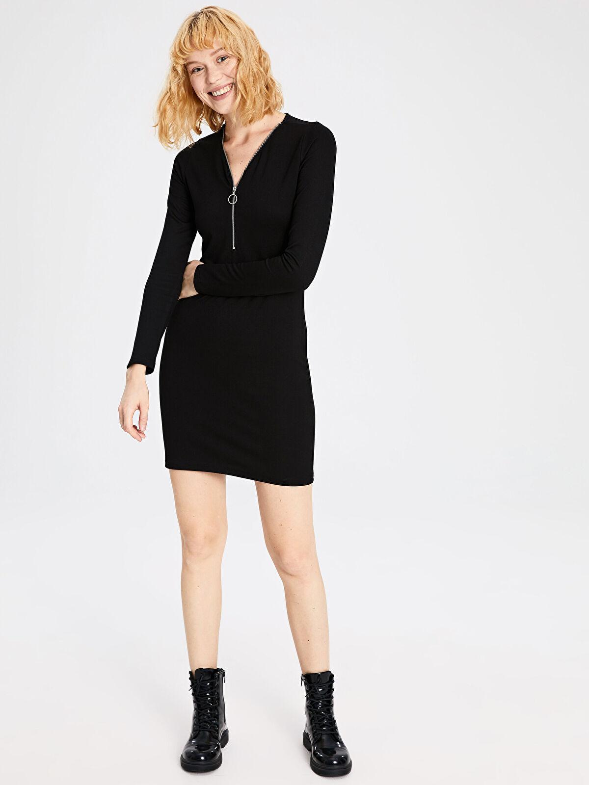 Yakası Fermuarlı Esnek Mini Elbise - LC WAIKIKI