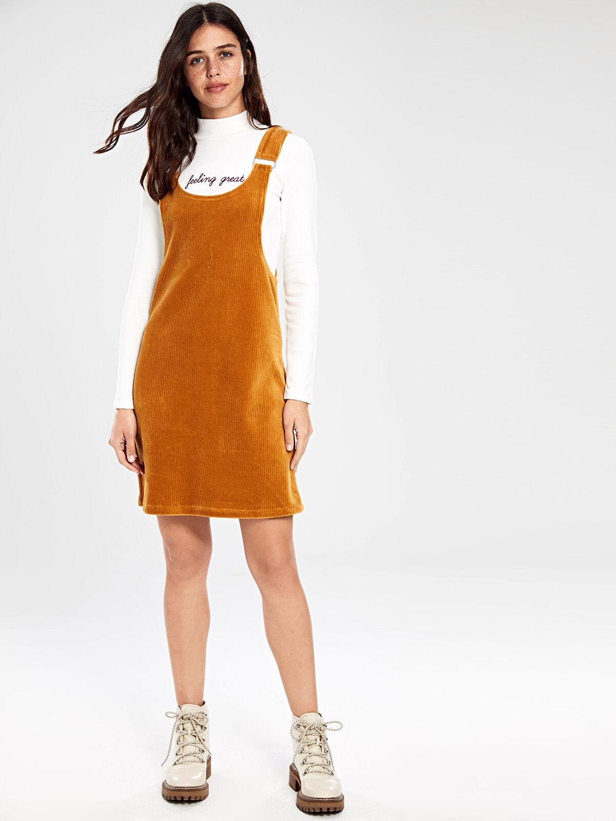 Kadife Salopet Mini Elbise - LC WAIKIKI