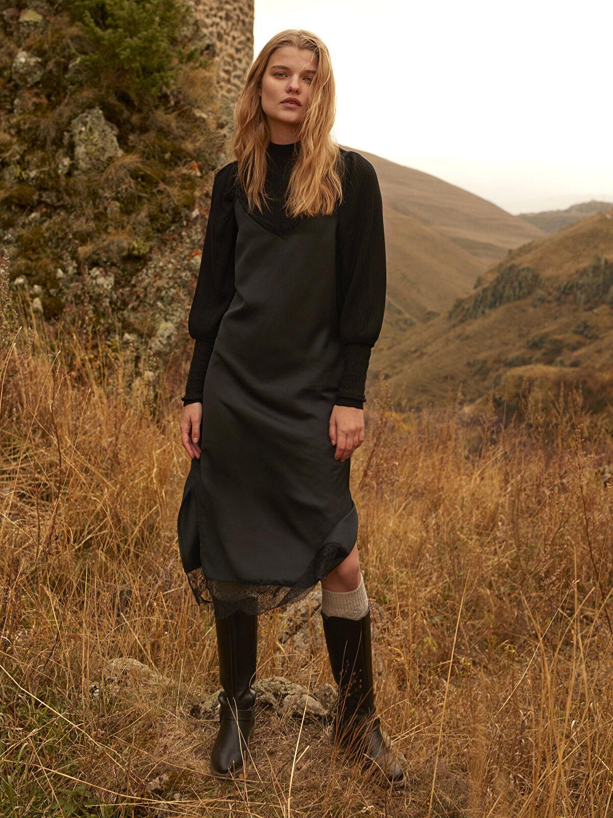Dantel Detaylı Askılı Elbise - LC WAIKIKI