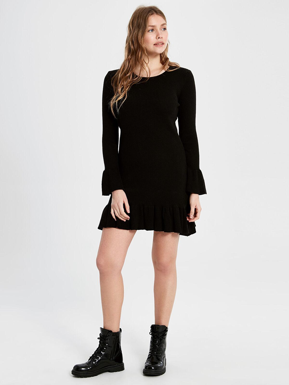 Fırfır Detaylı Mini Triko Elbise - LC WAIKIKI