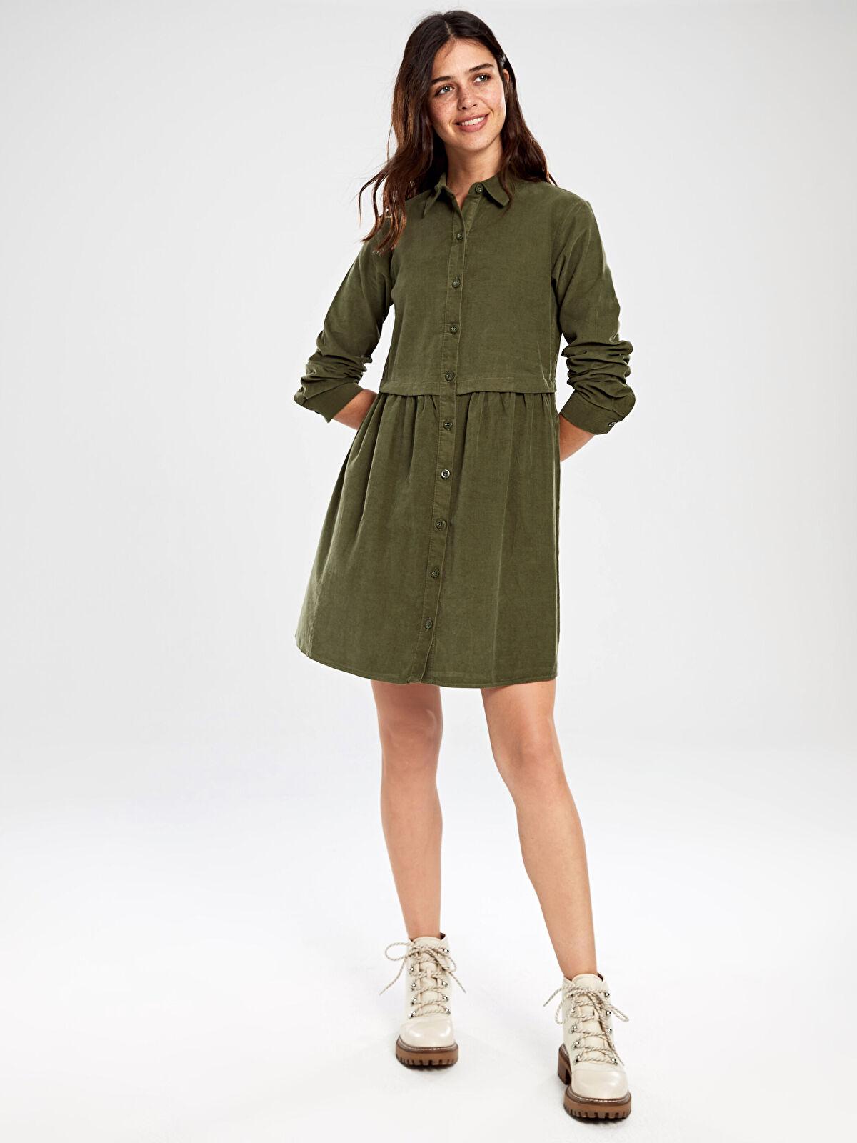 Düğmeli Kadife Mini Elbise - LC WAIKIKI