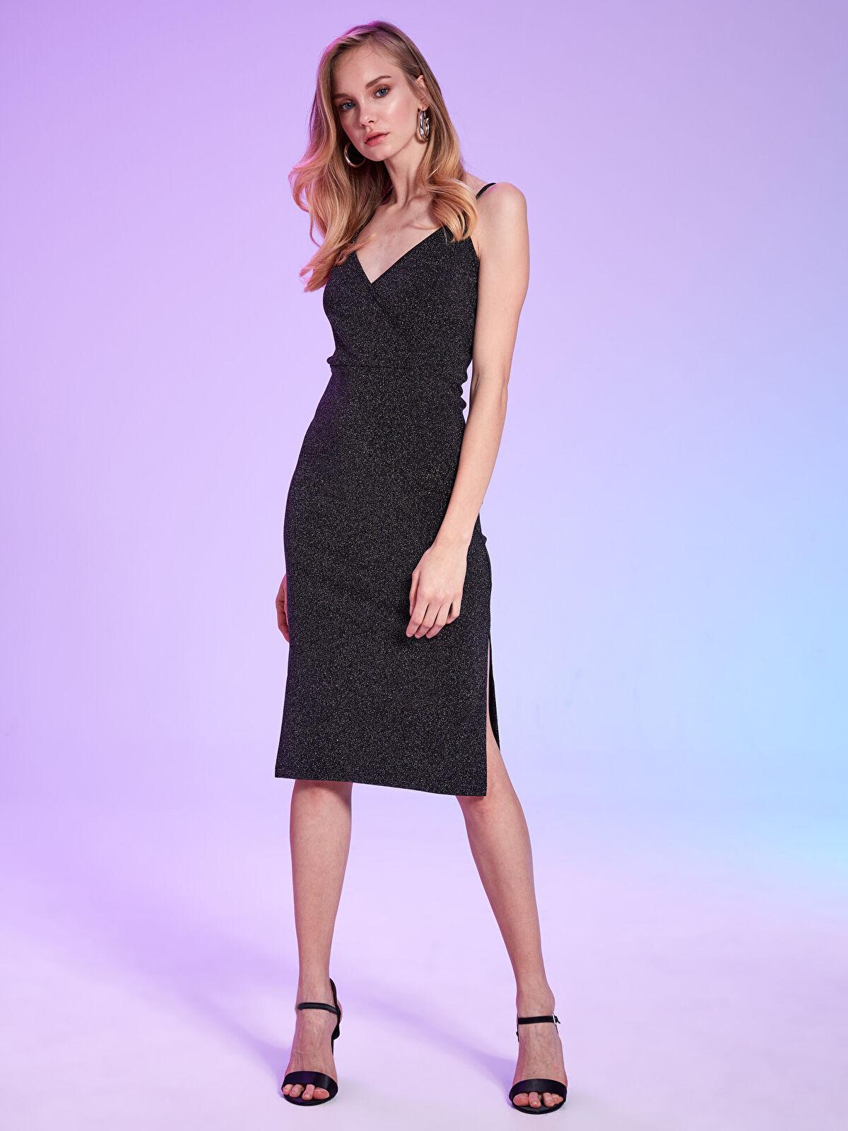 Rubyred Simli Kruvaze Elbise - Markalar