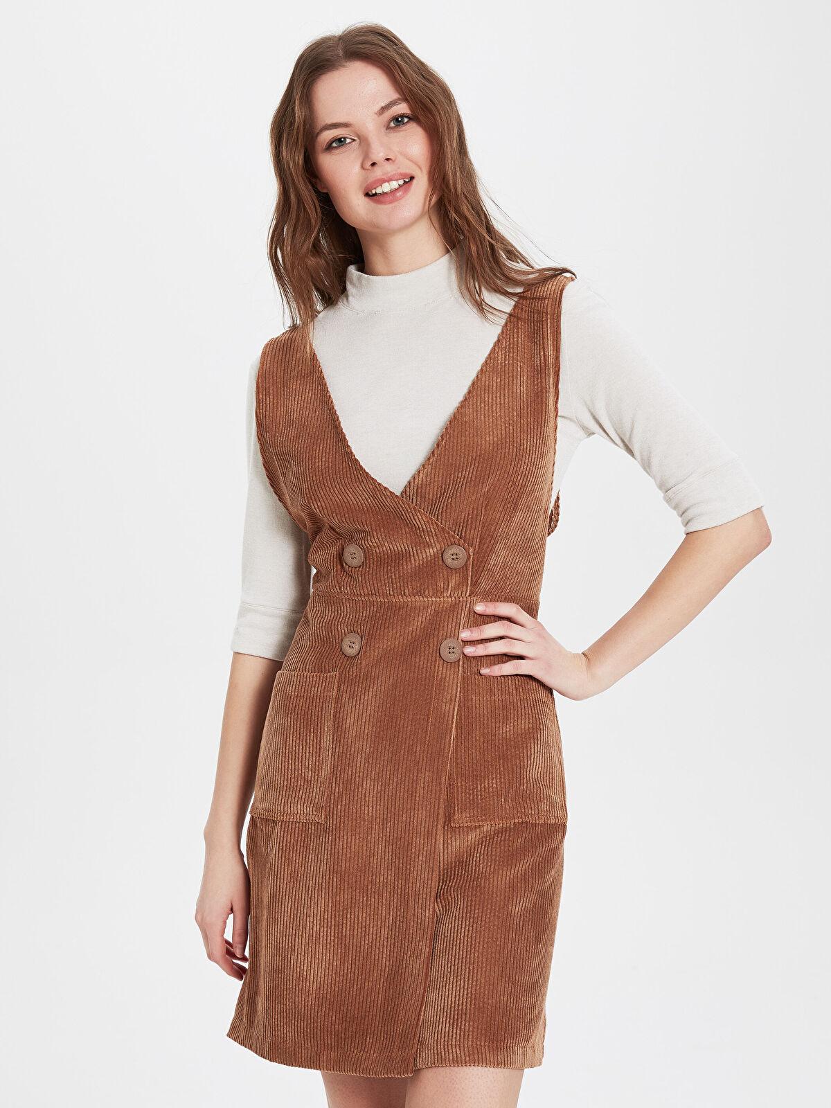 Sateen Cep Detaylı Kadife Elbise  - Markalar
