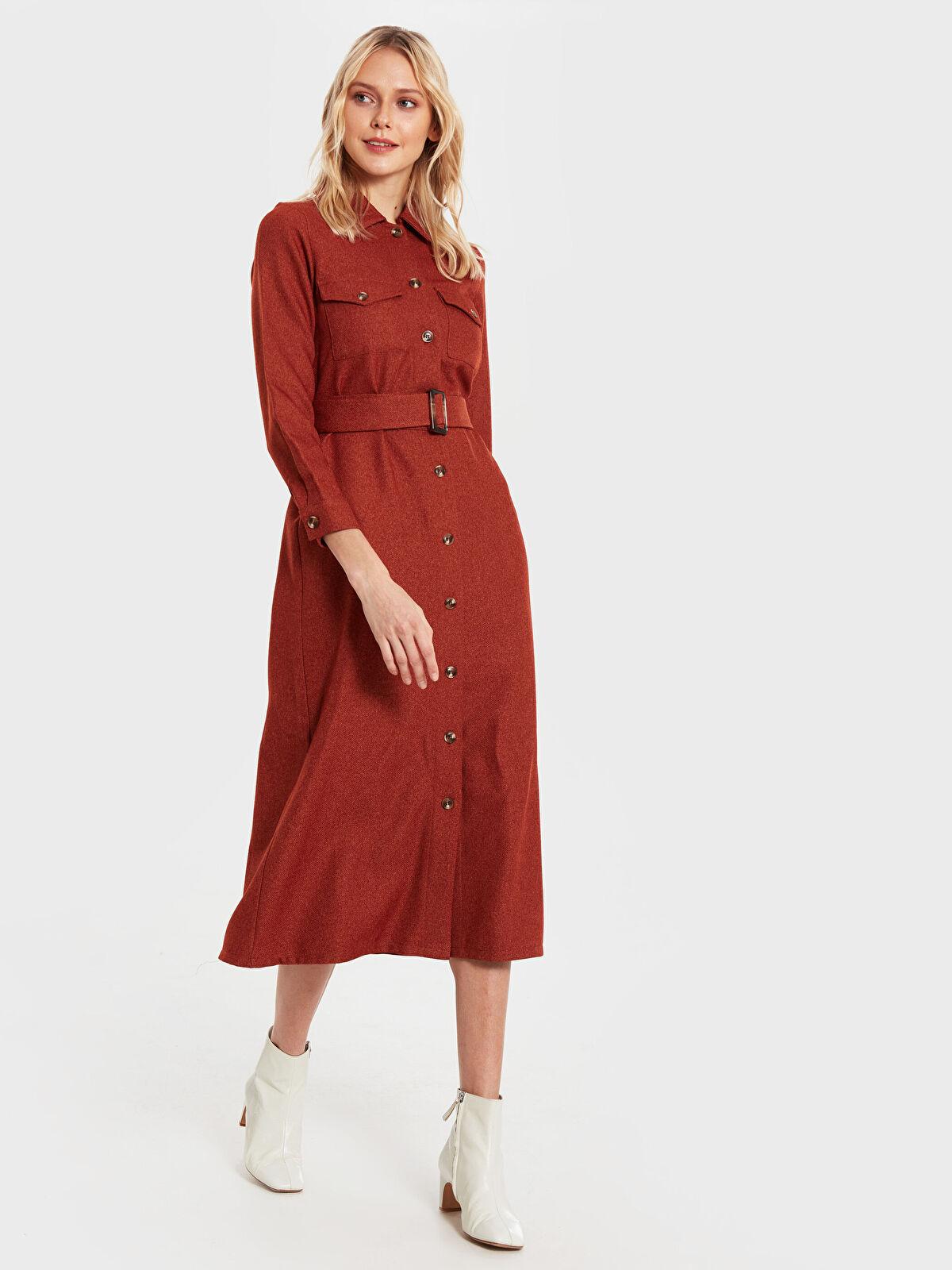 İkol Kuşaklı Gömlek Elbise - Markalar