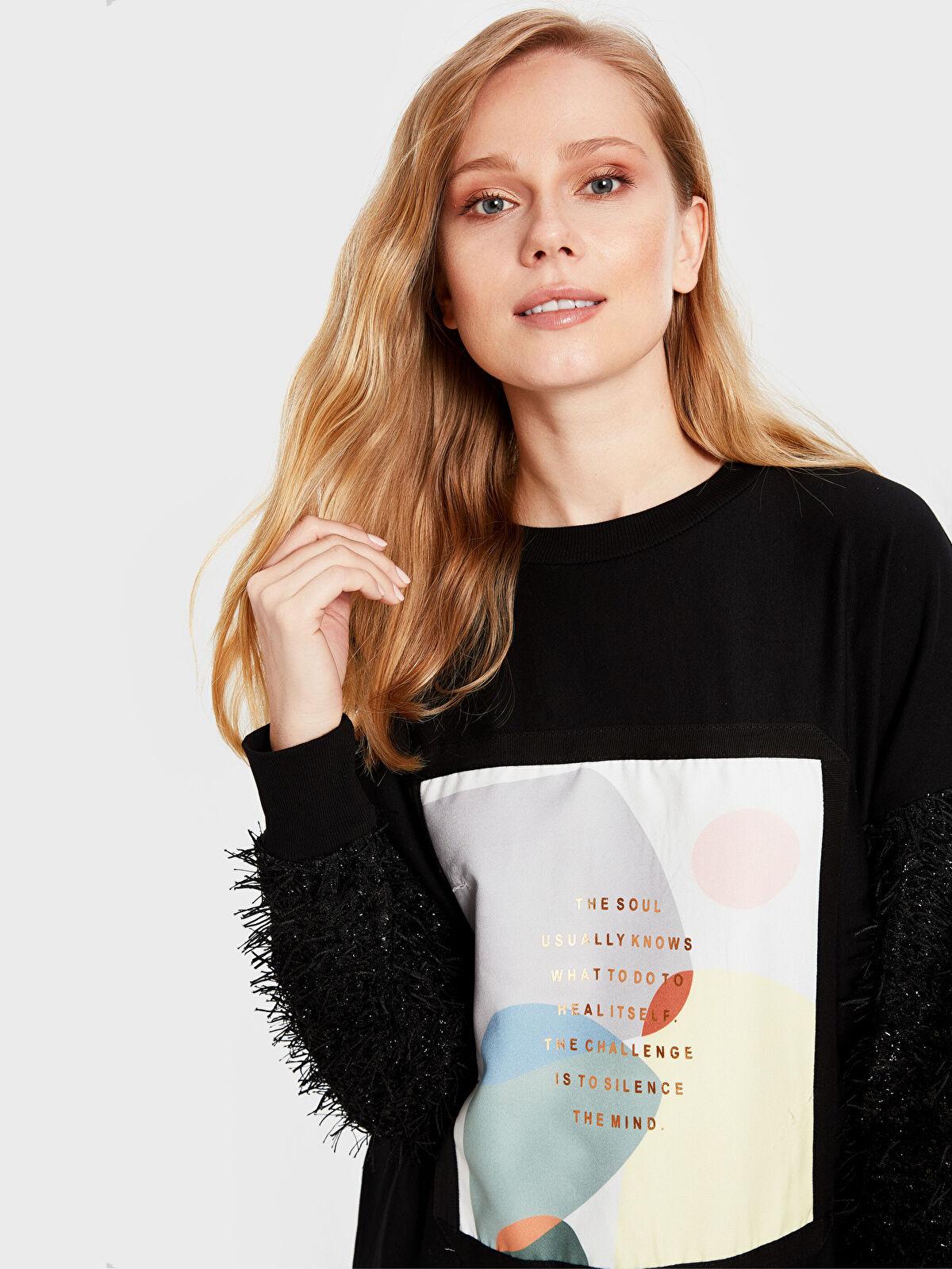 Soul By Loreen Püskül Detaylı Baskılı Sweatshirt - Markalar