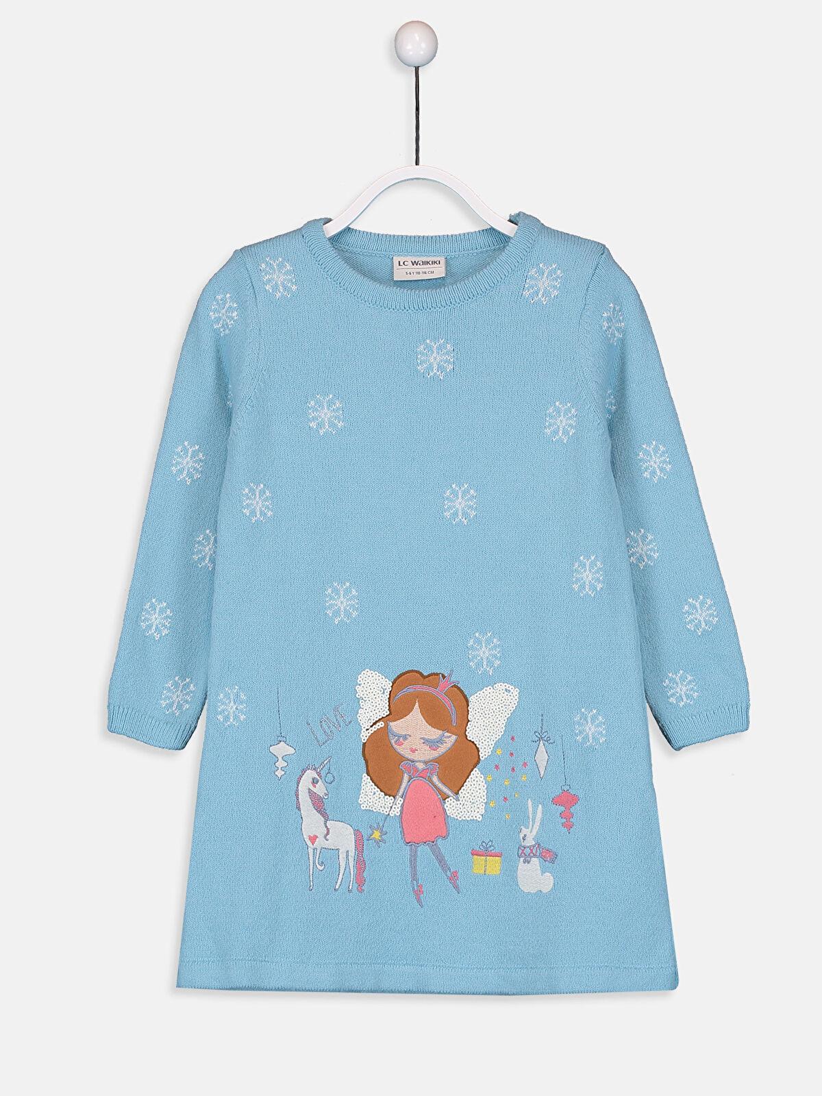 Kız Çocuk Desenli Triko Elbise - LC WAIKIKI