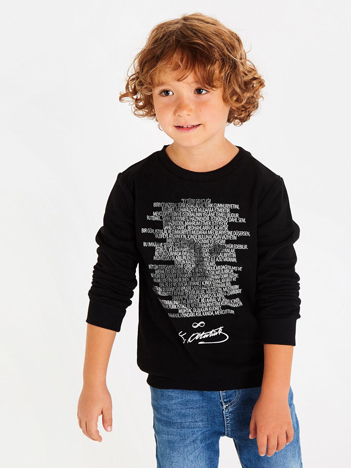 Aile Koleksiyonu Erkek Çocuk Atatürk Gençliğe Hitabe Baskılı Sweatshirt - LC WAIKIKI