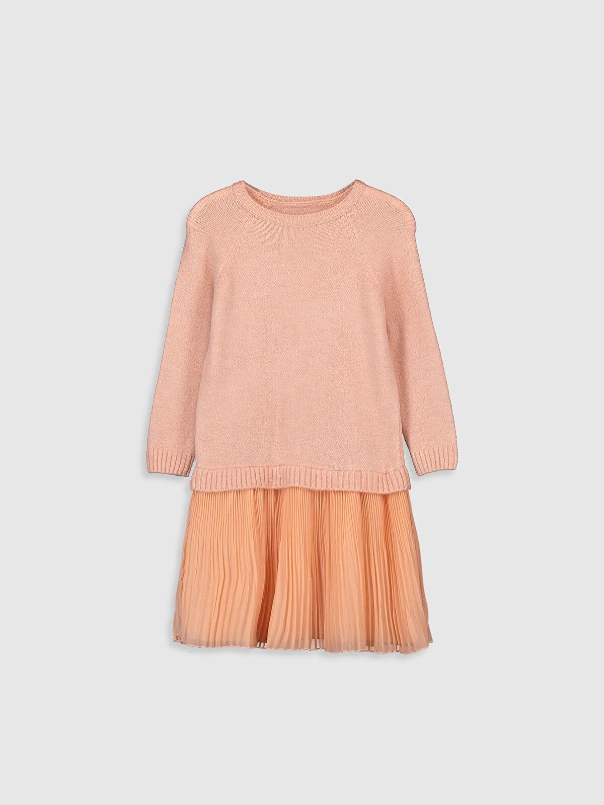 Kız Çocuk Pileli Triko Elbise - LC WAIKIKI