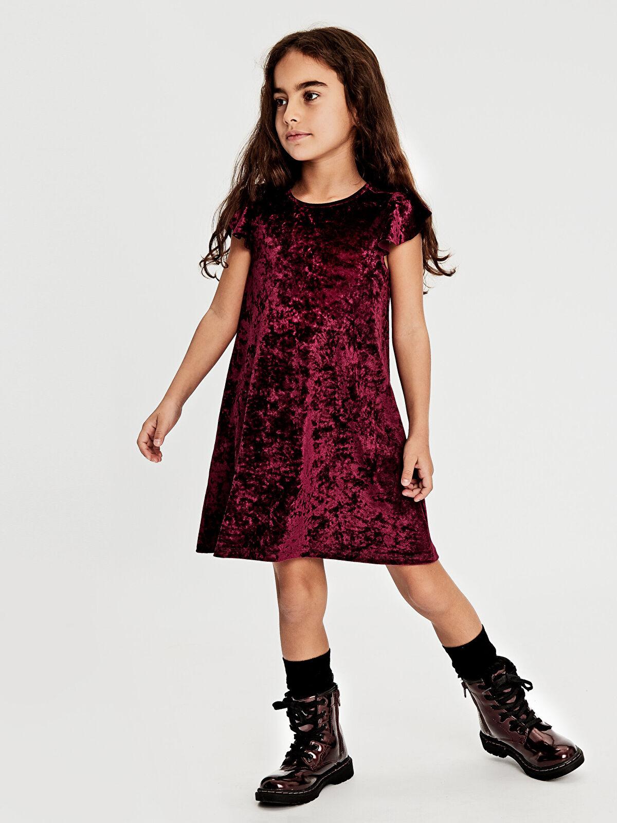 Kız Çocuk Kısa Kollu Kadife Elbise - LC WAIKIKI