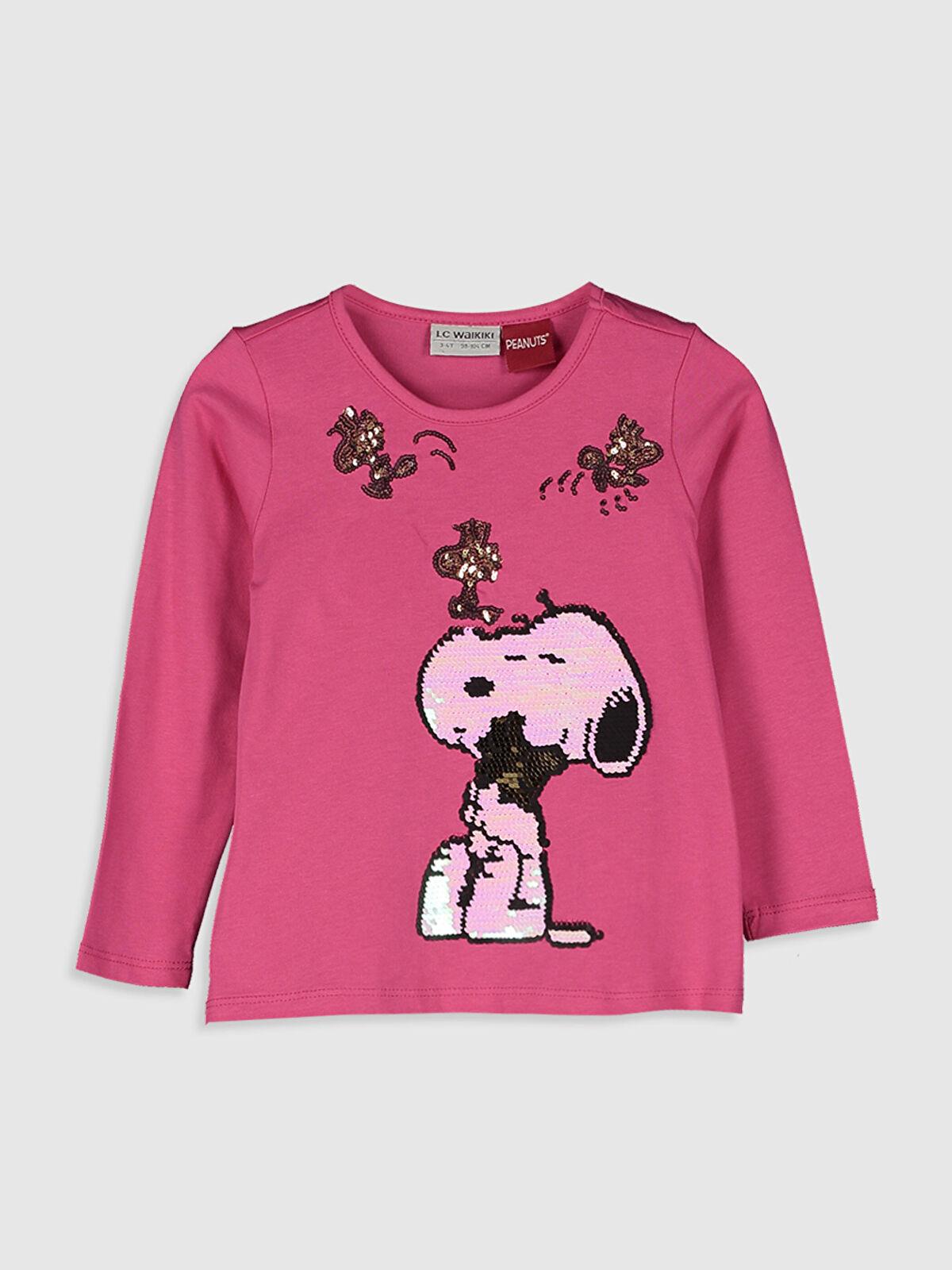 Kız Çocuk Çift Yönlü Payetli Snoopy Tişört - LC WAIKIKI