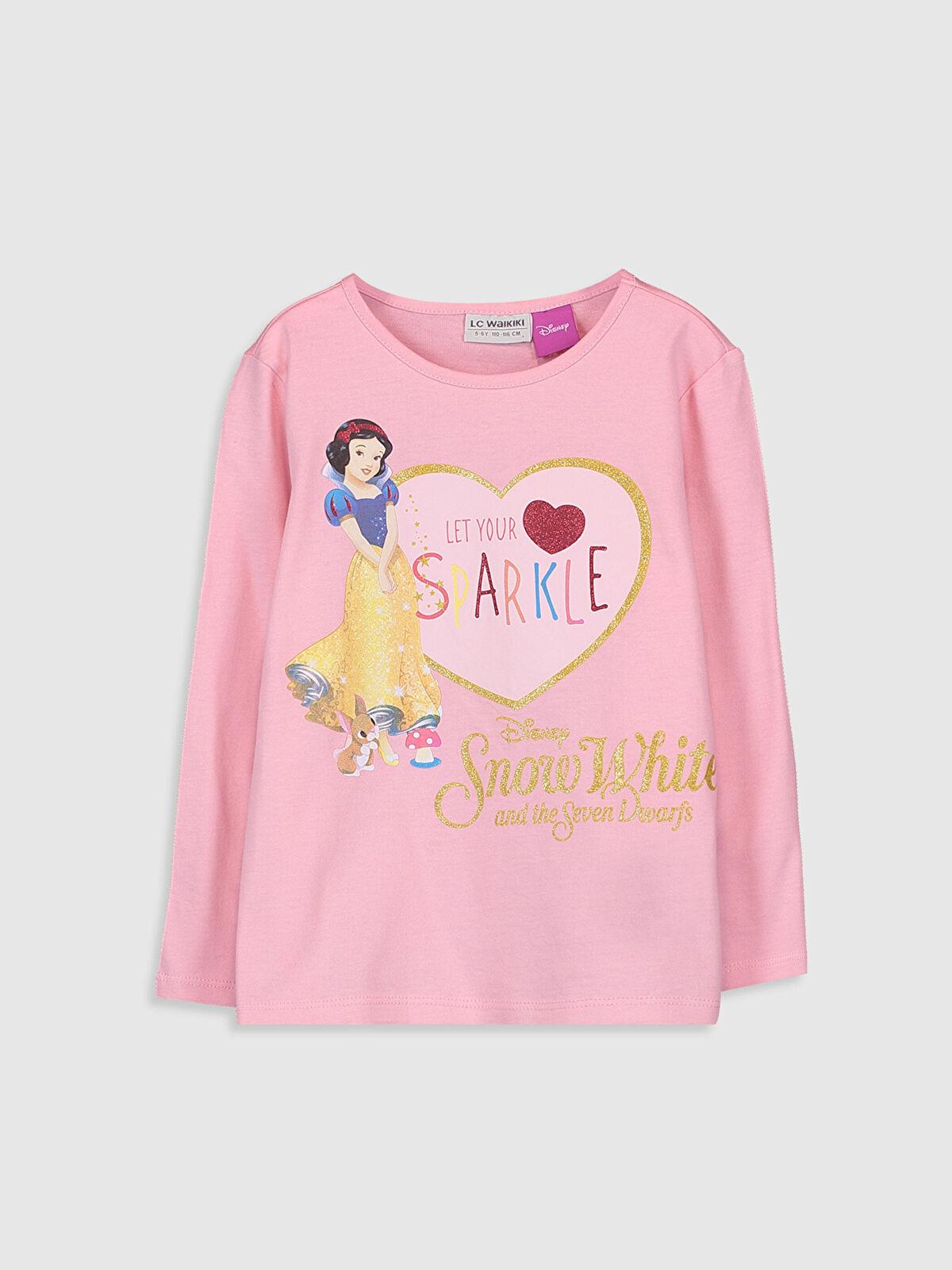 Kız Çocuk Pamuk Prenses Baskılı Pamuklu Tişört - LC WAIKIKI