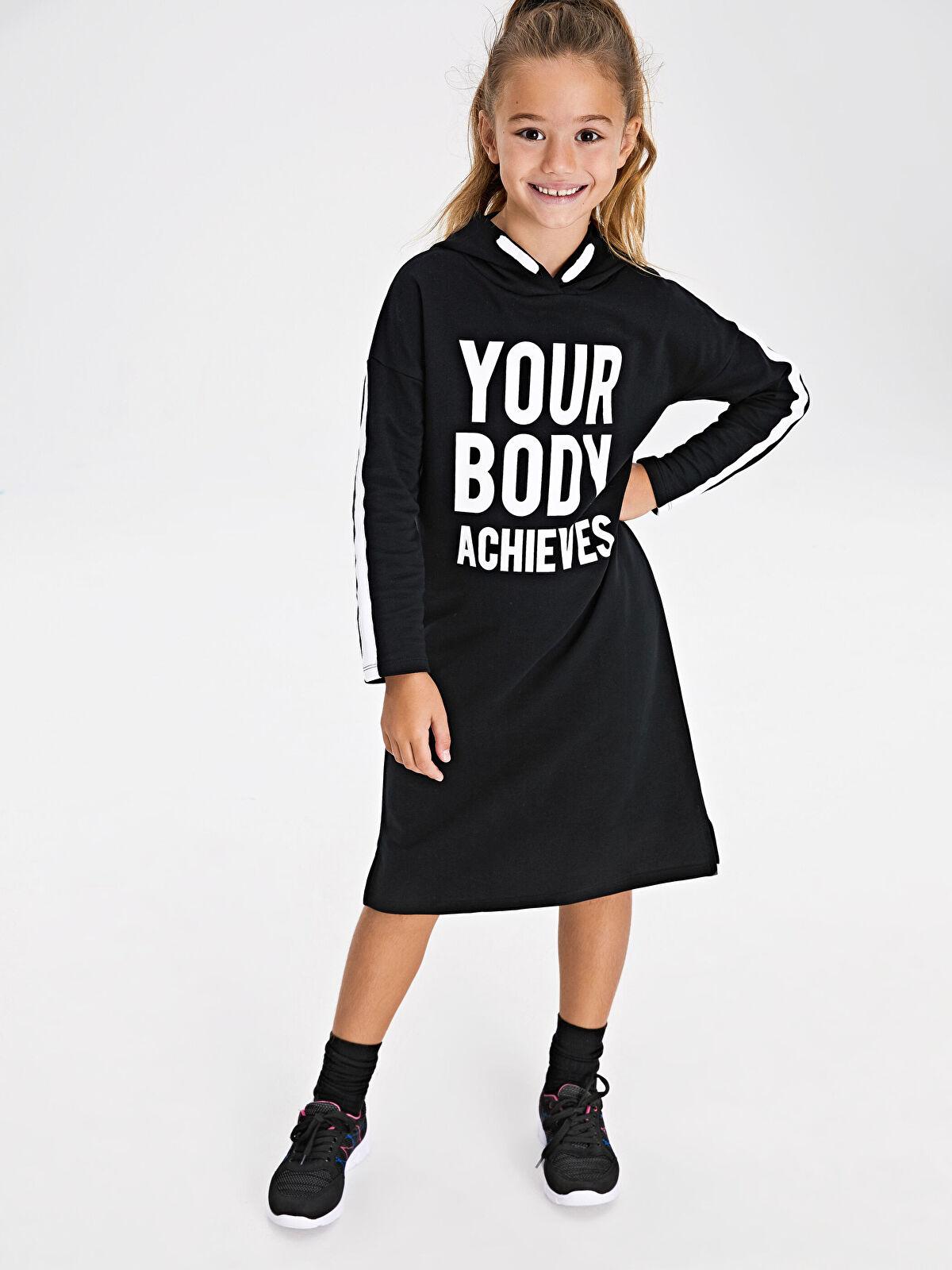 Kız Çocuk Yazı Baskılı Kapüşonlu Elbise - LC WAIKIKI