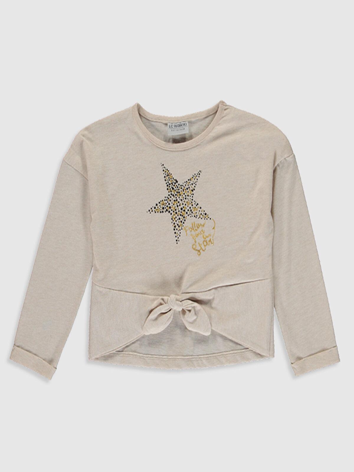 Kız Çocuk Yıldız Baskılı Fiyonklu Tişört - LC WAIKIKI