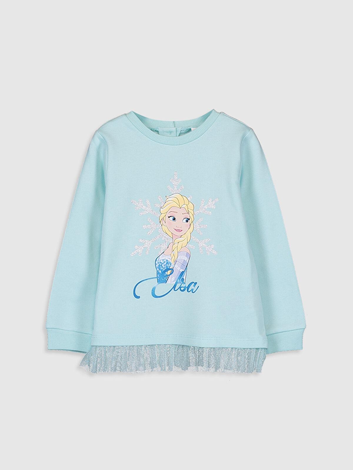 Kız Bebek Elsa Baskılı Sweatshirt - LC WAIKIKI