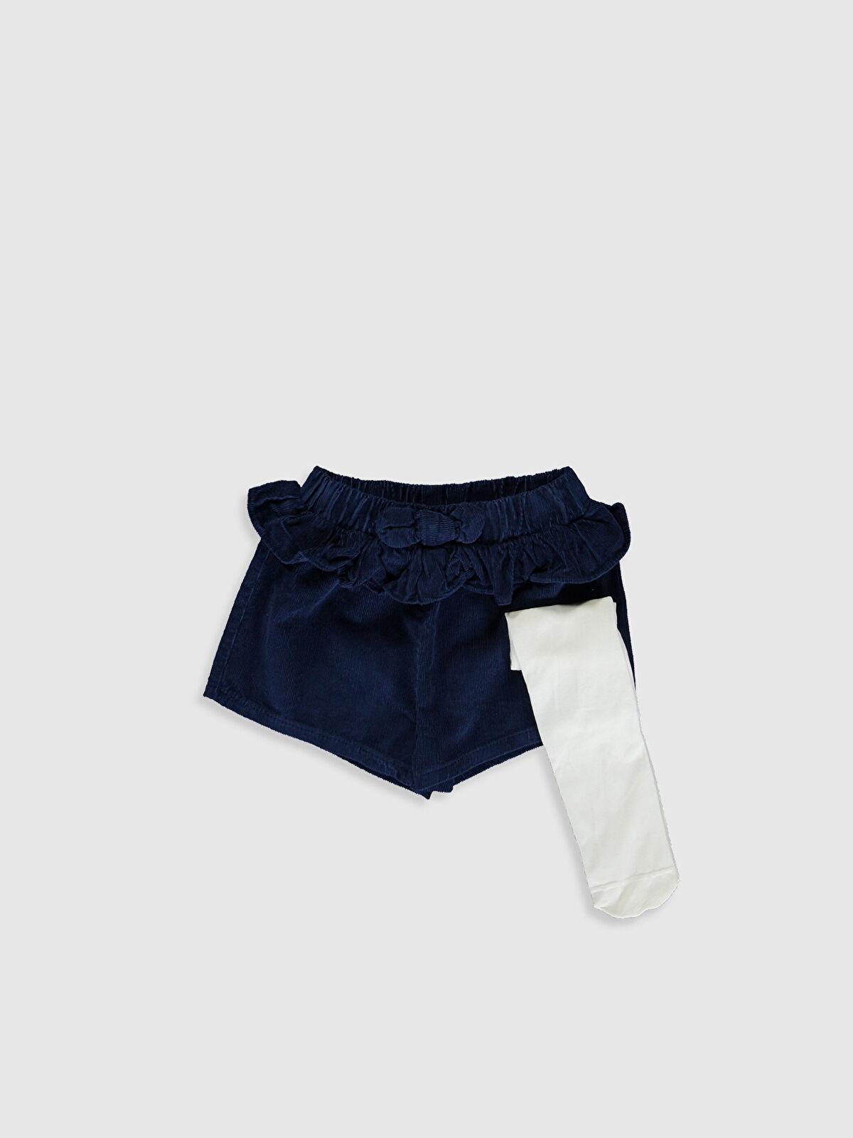 Kız Bebek Kadife Şort ve Külotlu Çorap - LC WAIKIKI