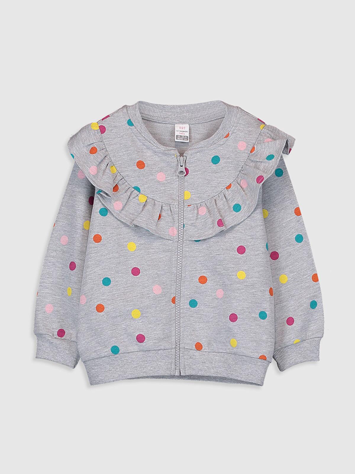 Kız Bebek Puantiyeli Sweatshirt - LC WAIKIKI