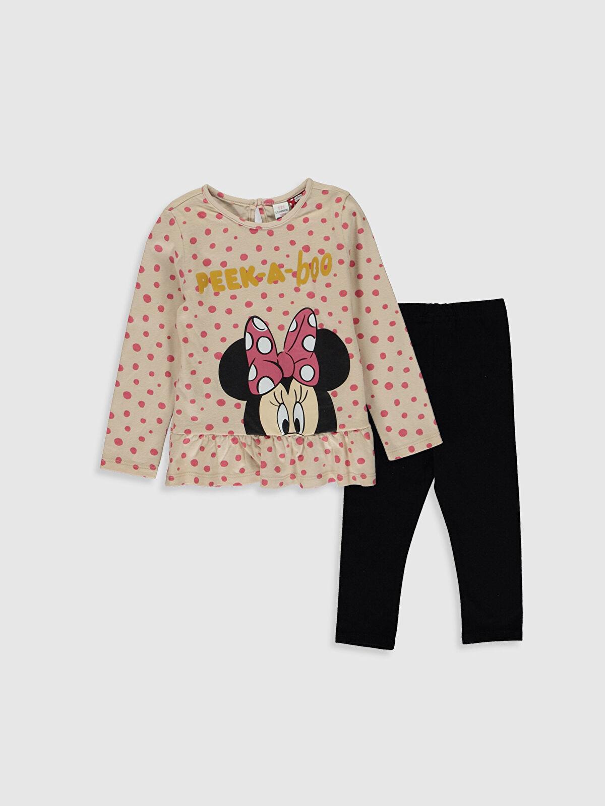 Kız Bebek Minnie Mouse Baskılı Sweatshirt ve Pantolon - LC WAIKIKI