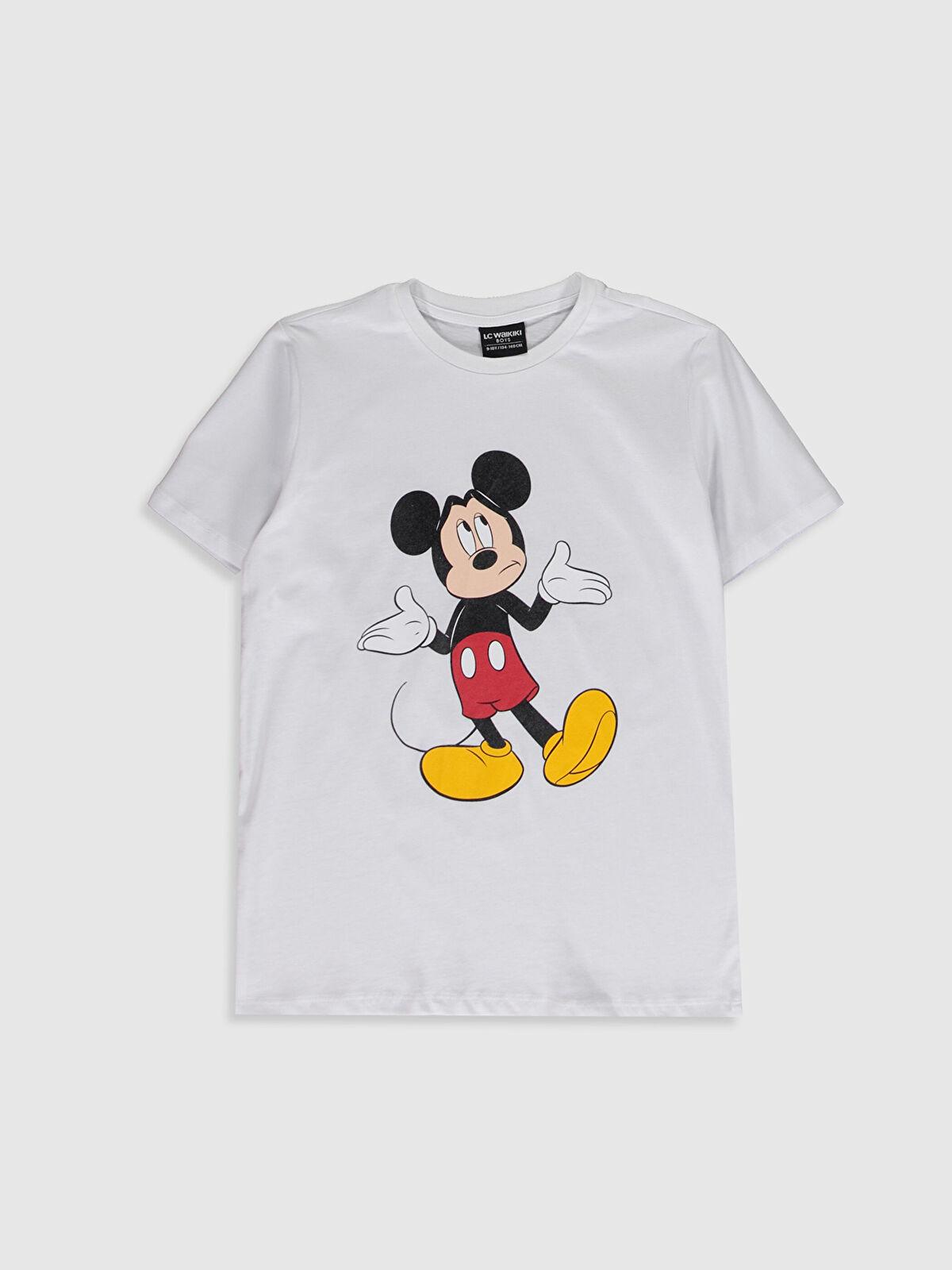 Aile Koleksiyonu Erkek Çocuk Mickey Mouse Baskılı Pamuklu Tişört - LC WAIKIKI