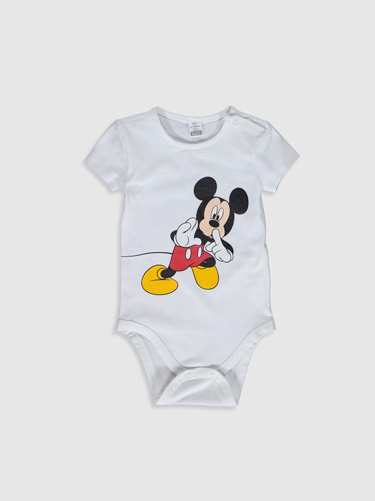 Erkek Bebek Mickey Mouse Baskılı Çıtçıtlı Body - LC WAIKIKI