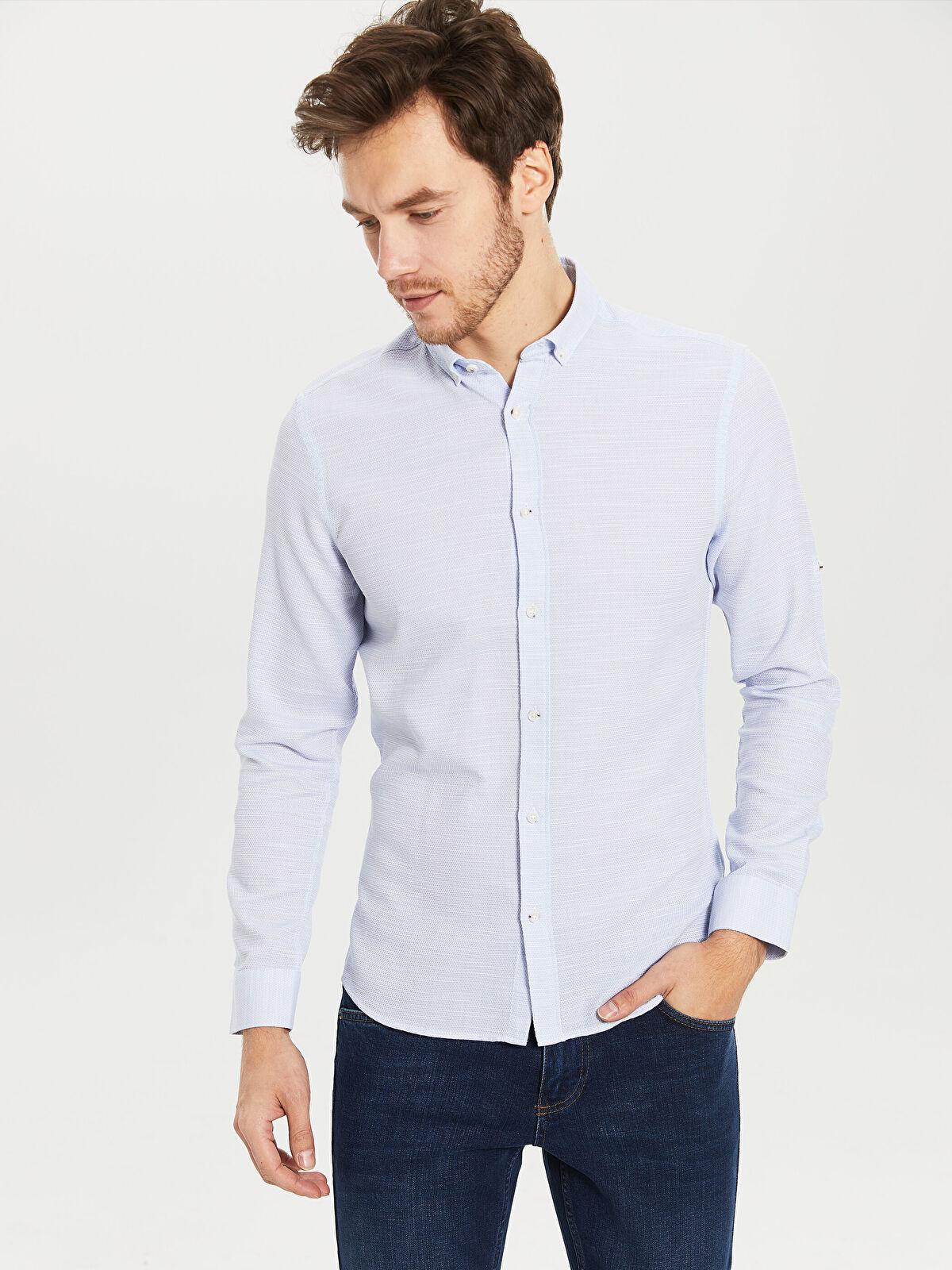 Slim Fit Armürlü Gömlek - LC WAIKIKI