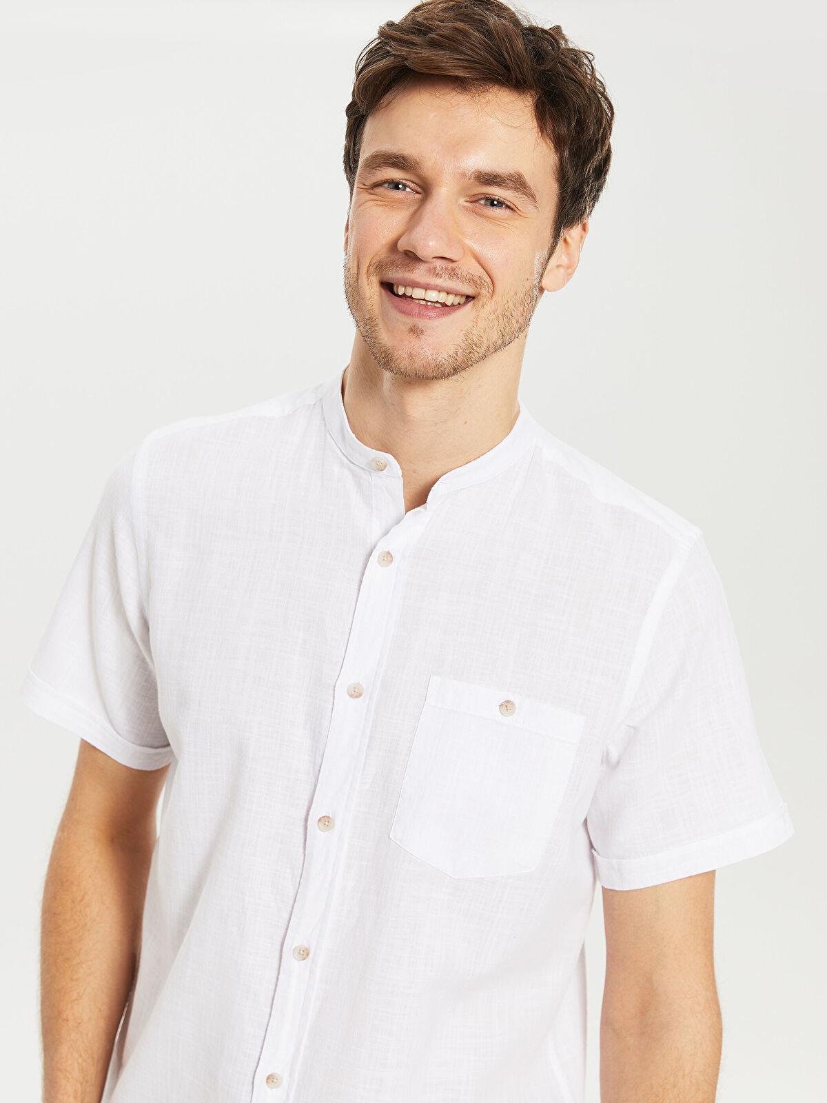 Regular Fit Kısa Kollu Keten Gömlek - LC WAIKIKI