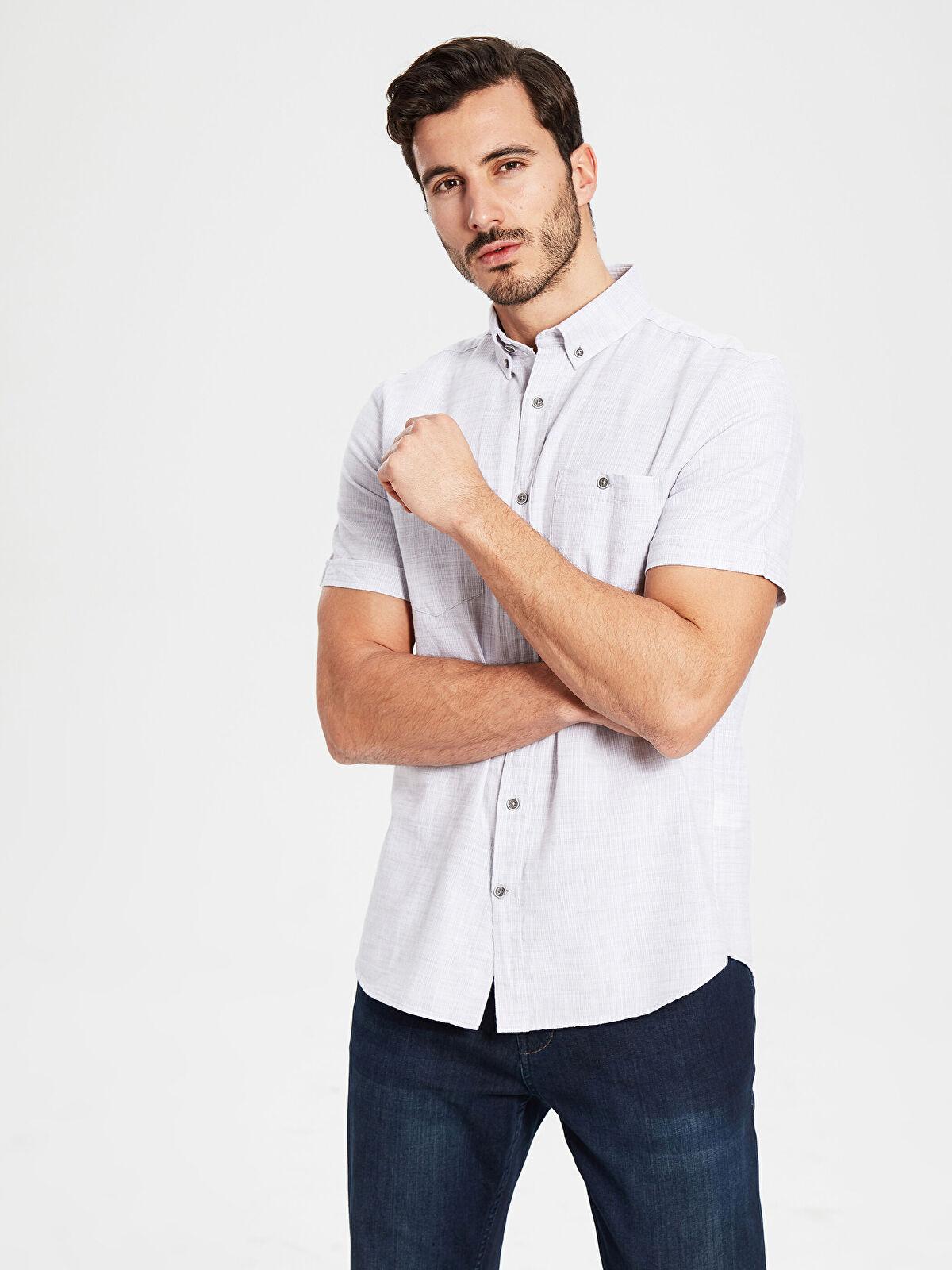Regular Fit Kısa Kollu Armürlü Gömlek - LC WAIKIKI
