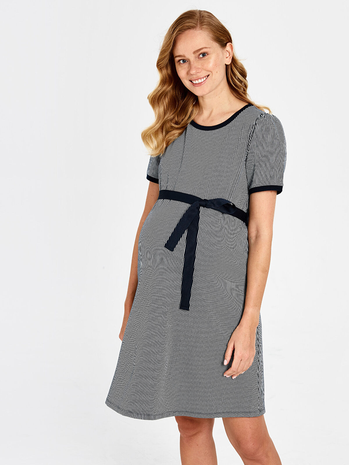 Kuşaklı Çizgili Hamile Elbise - LC WAIKIKI
