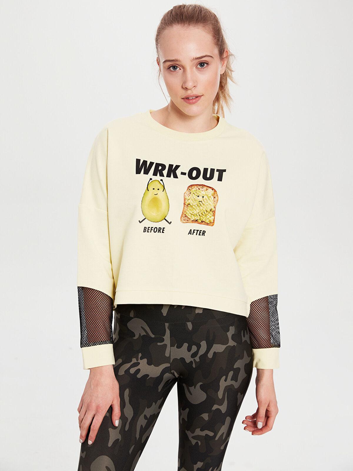 Aktif Spor Baskılı Crop Sweatshirt - LC WAIKIKI