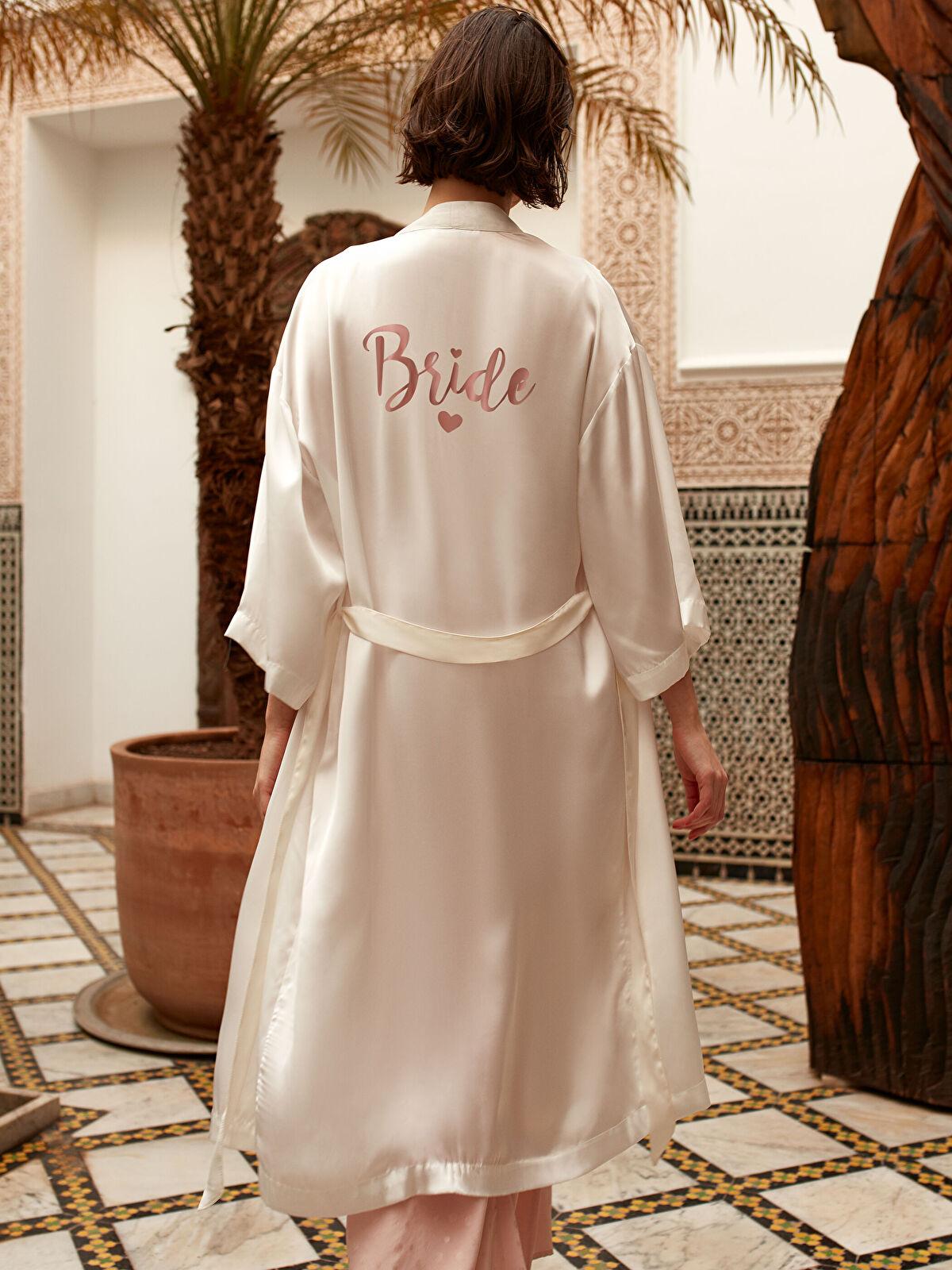 Bride Koleksiyonu Kuşaklı Saten Sabahlık - LC WAIKIKI