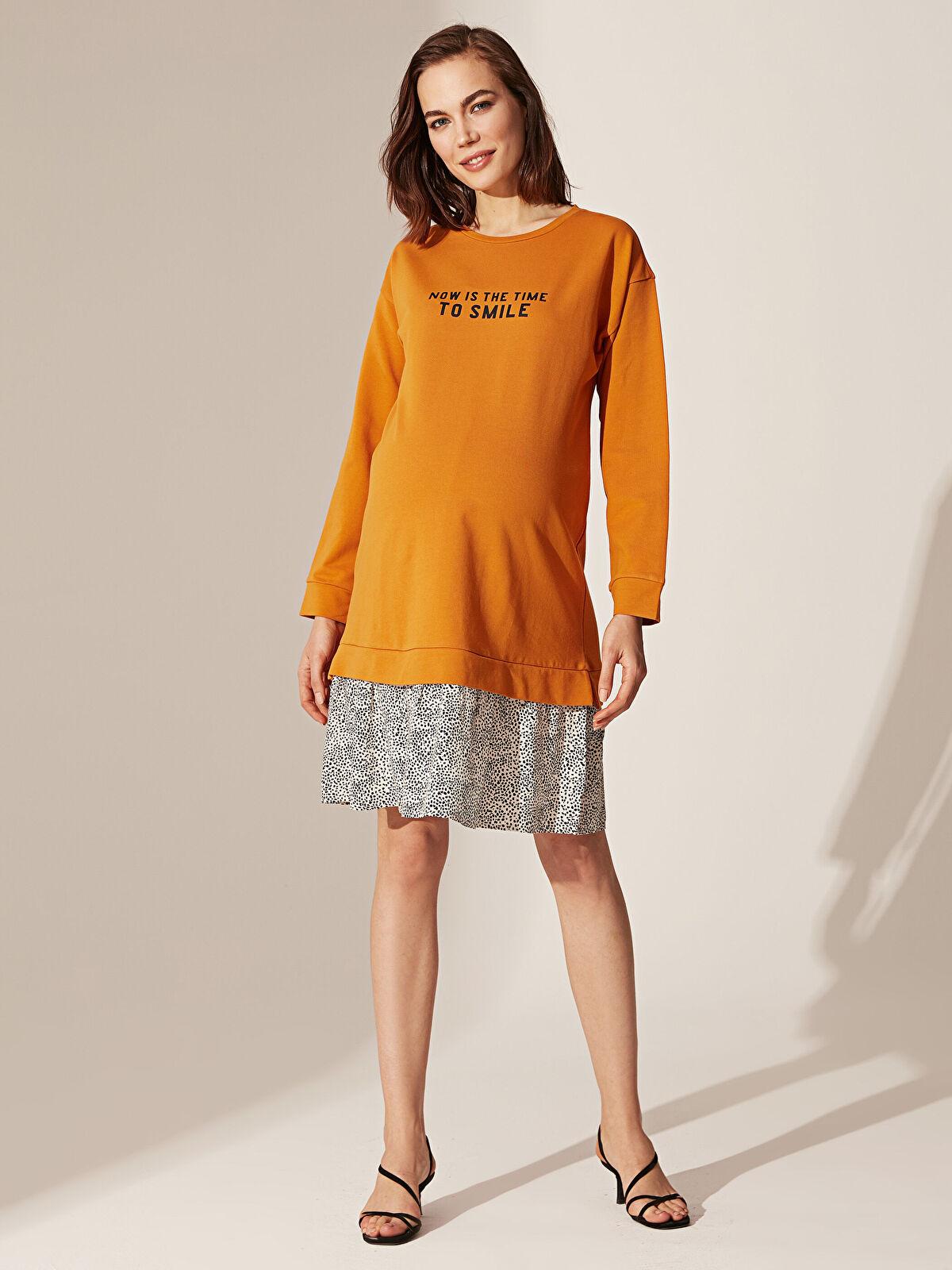 Yazı Baskılı Puantiye Detaylı Pamuklu Hamile Elbise - LC WAIKIKI