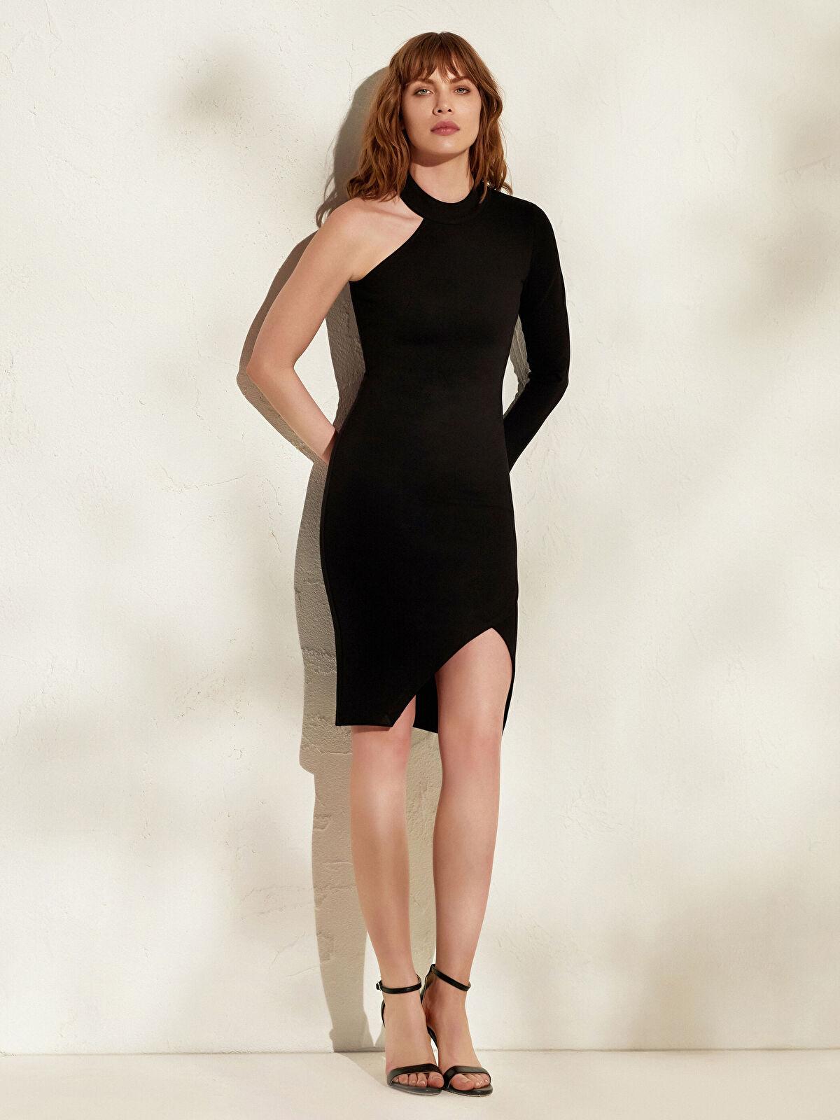 İncelten Etkili Tek Omuz Detaylı Esnek Elbise - LC WAIKIKI