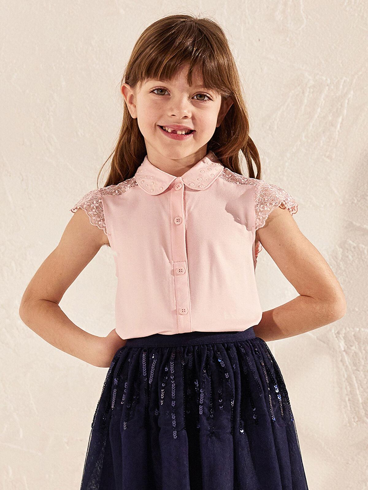Kız Çocuk Dantel Detaylı Gömlek - LC WAIKIKI