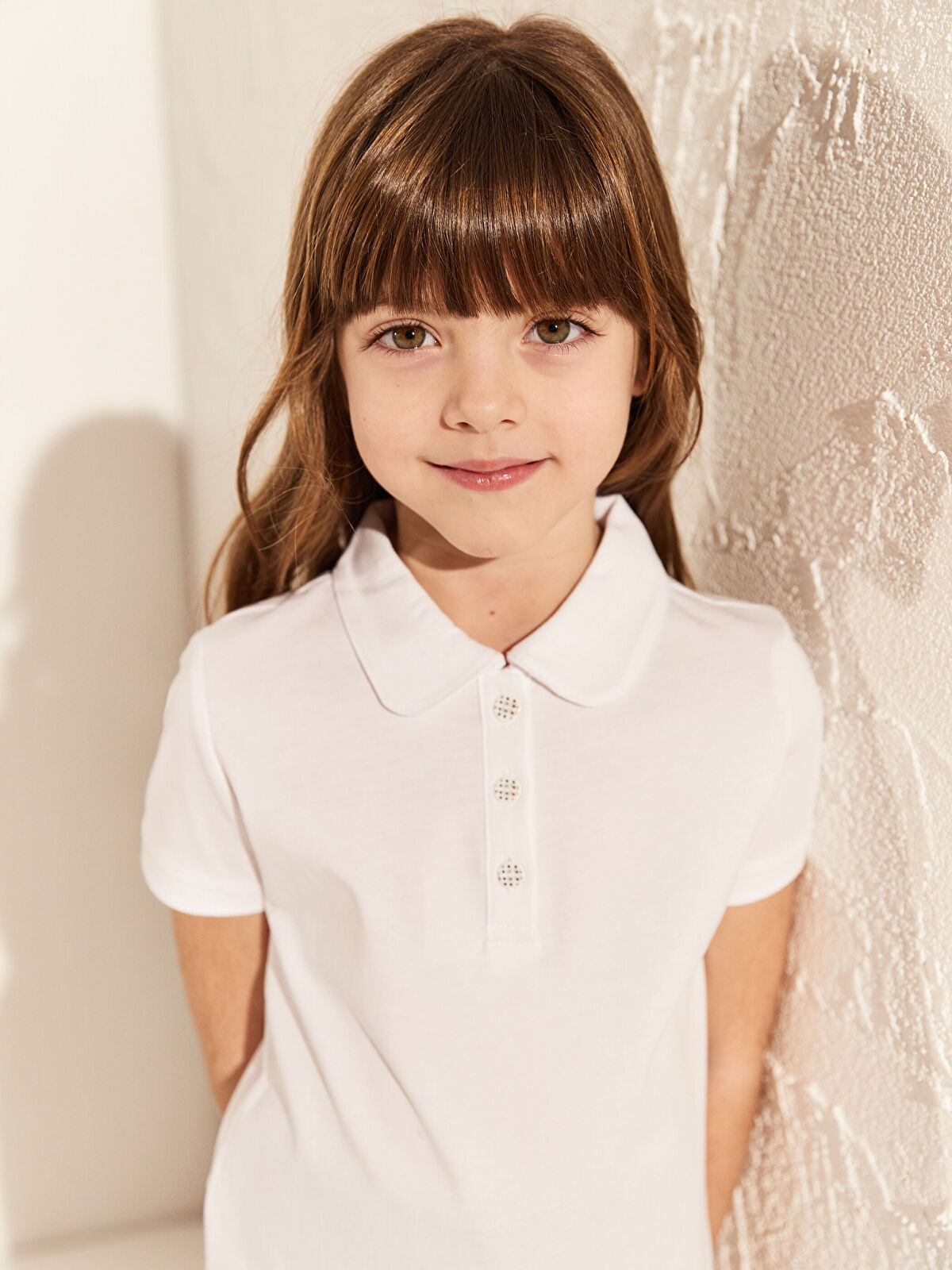 Kız Çocuk Polo Yaka Pamuklu Basic Tişört - LC WAIKIKI